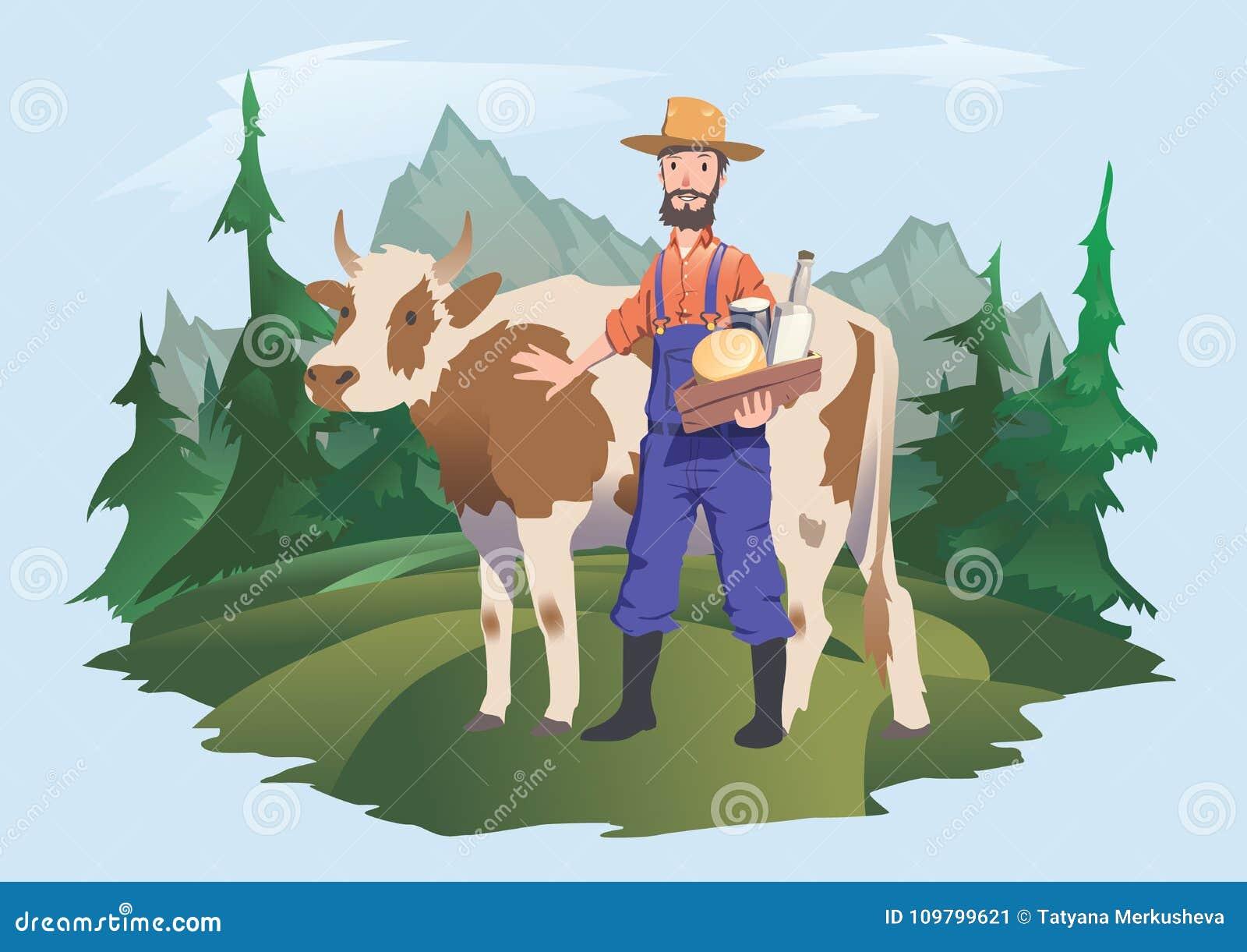 农夫77导航_一位母牛和农夫在草甸,高山风景 导航包装的例证牛奶或乳制品