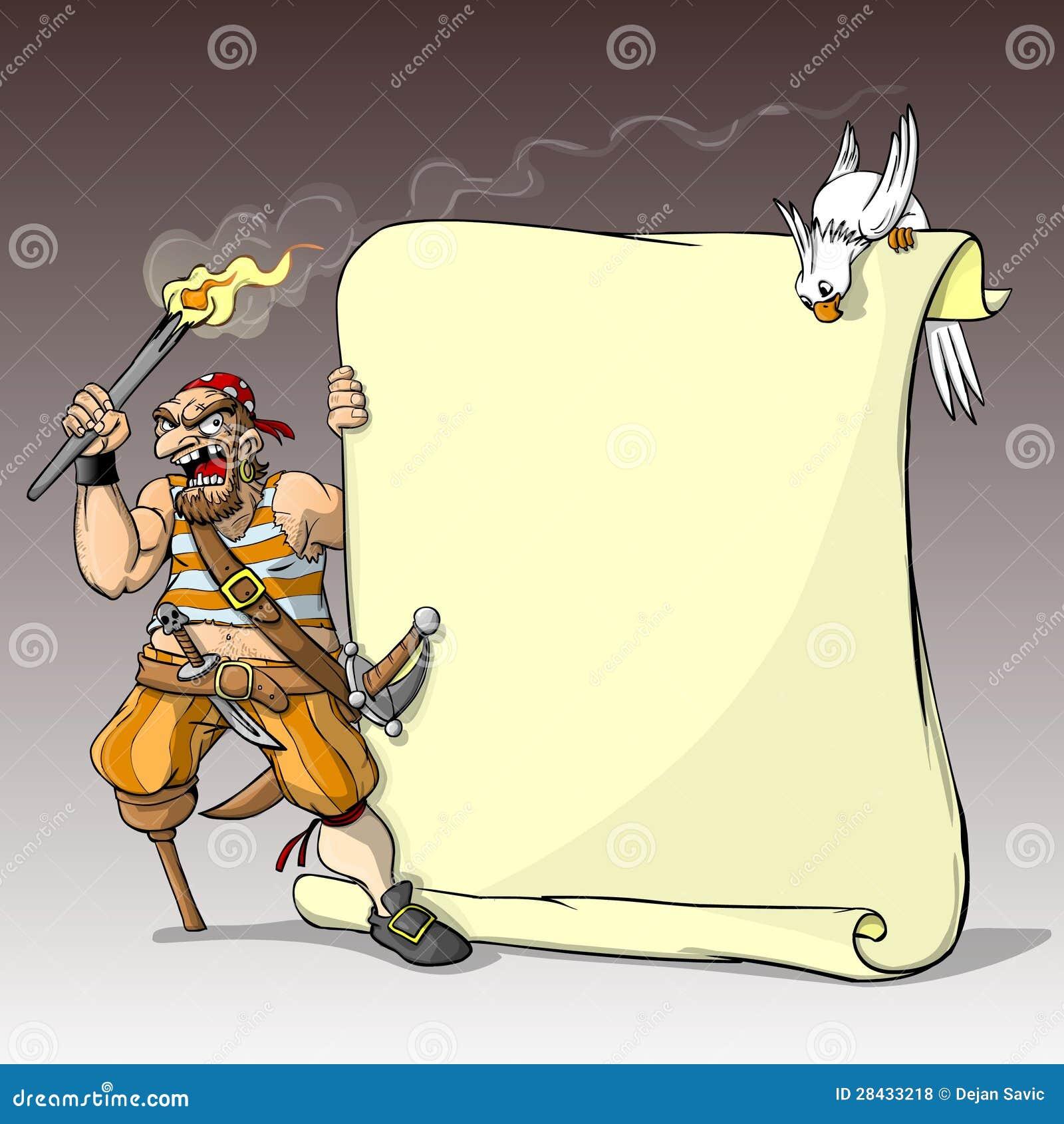 海盗和鹦鹉_一位狠毒单腿海盗拿着火炬和横幅的和突出对此的鹦鹉.
