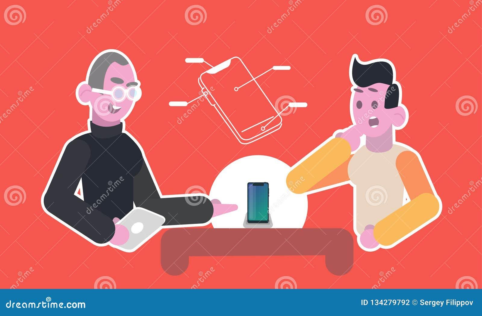 一位老练的顾问显示一个新的现代电话给年轻人的一个客户