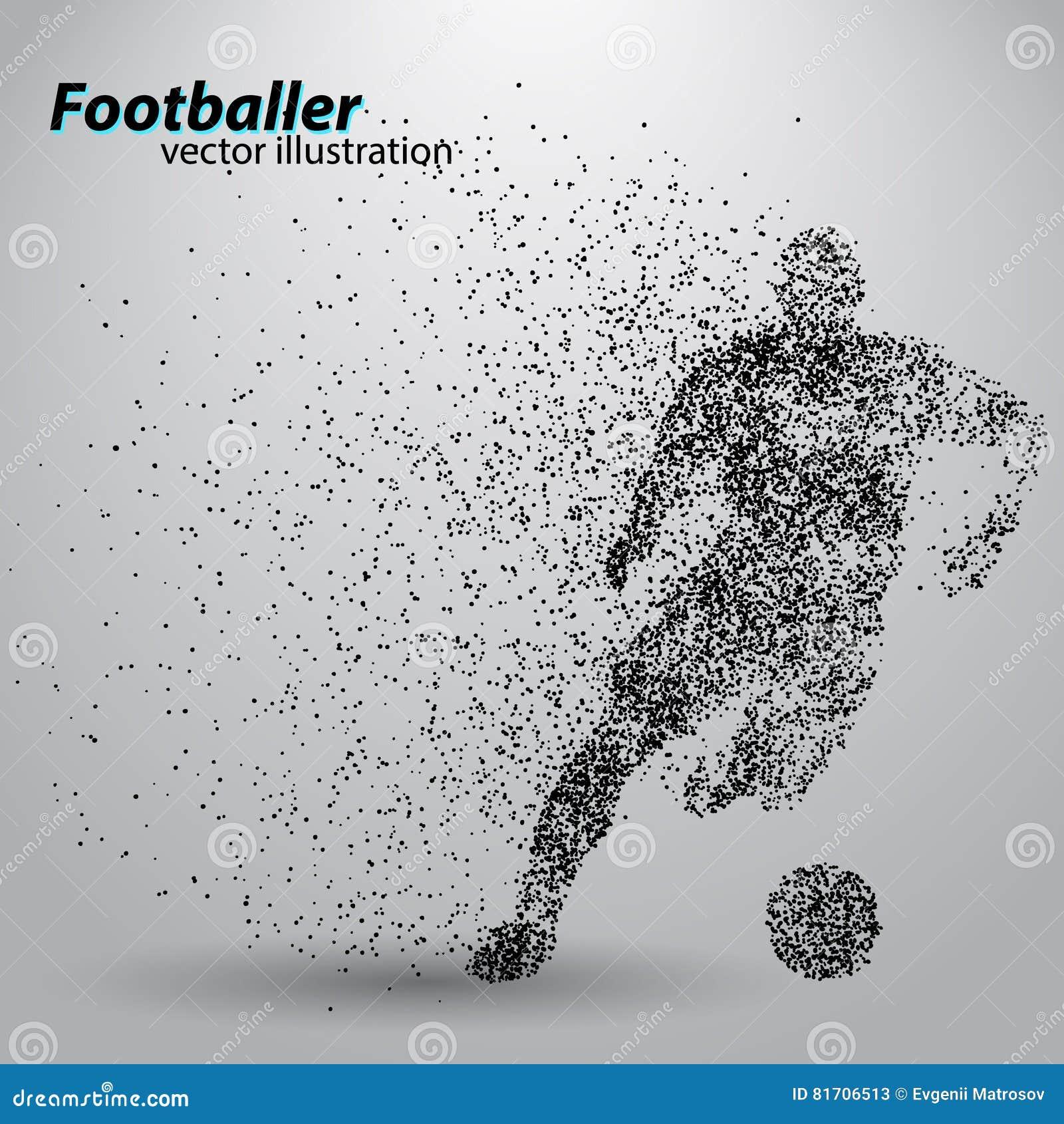一位足球运动员的剪影从微粒的