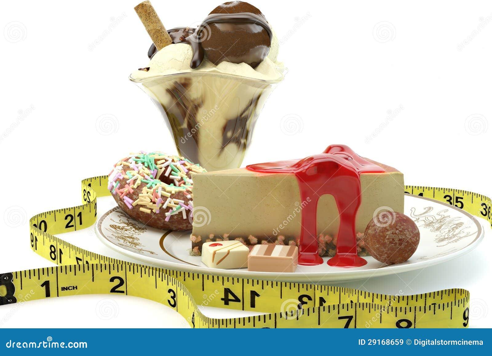 一卷测量的磁带围拢的浓卡路里点心