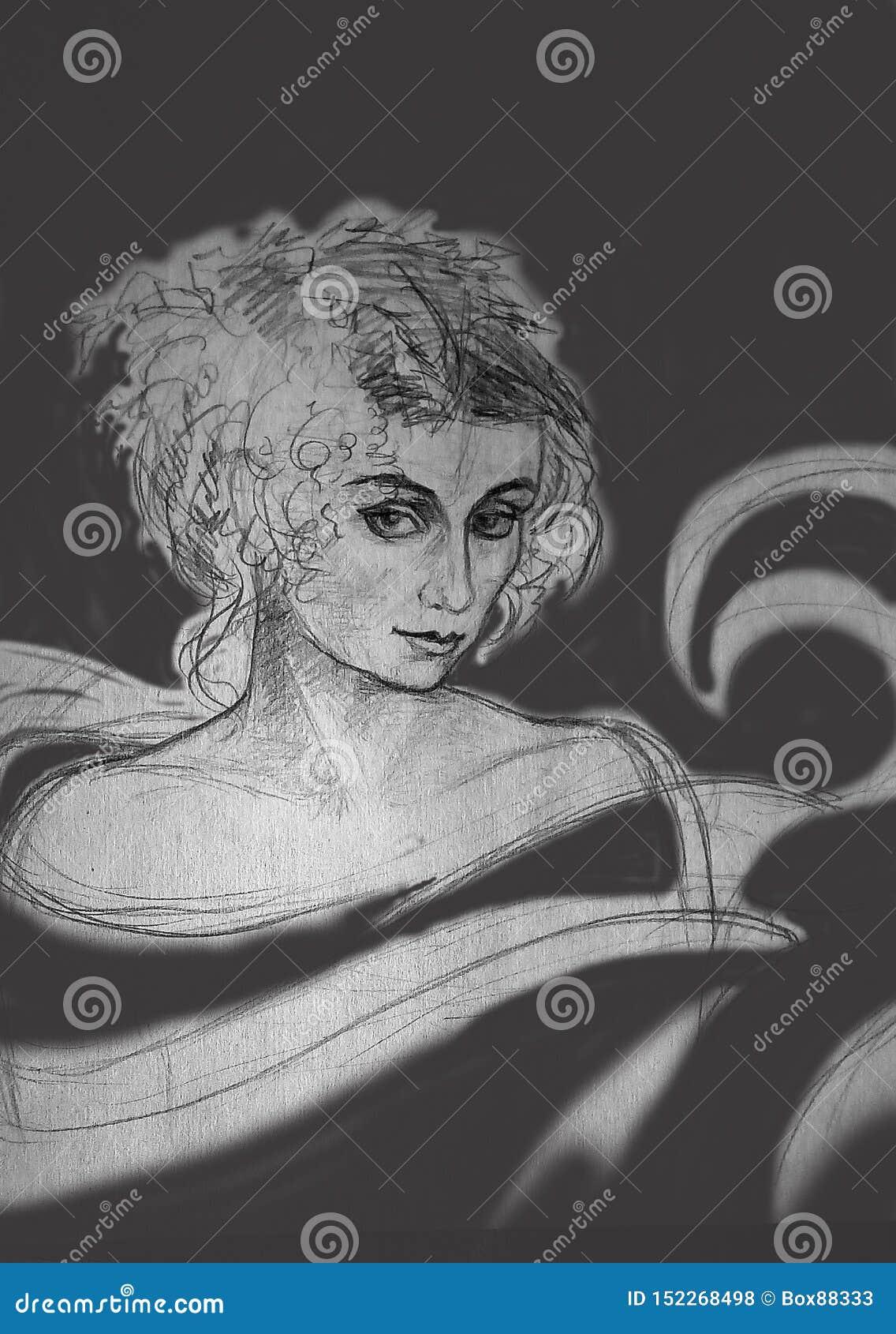 一名妇女的一个概略的铅笔剪影灰色背景的与污点
