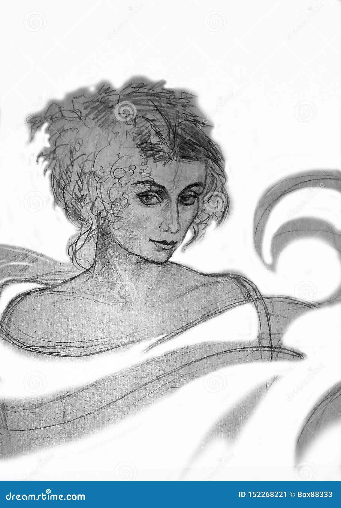 一名妇女的一副粗砺的铅笔图白色背景的