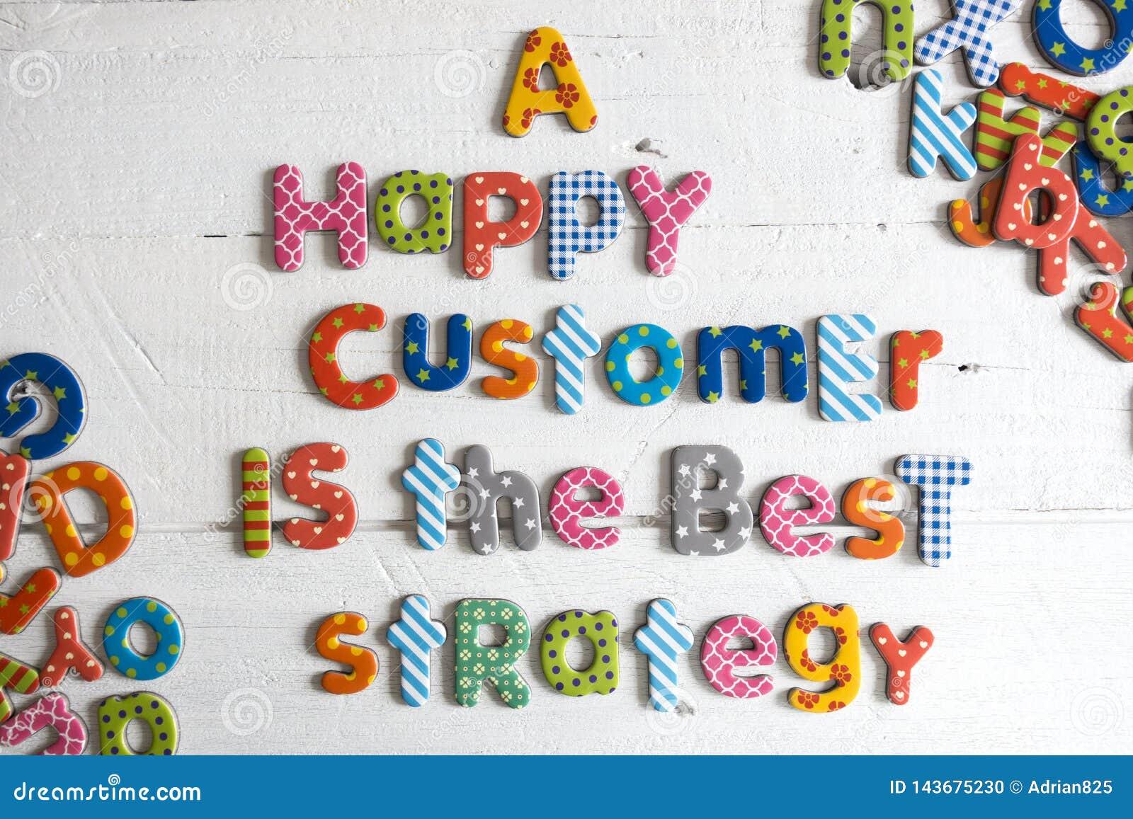 一名愉快的顾客是从五颜六色的信件的最佳的战略文本在白色背景,顾客关心概念
