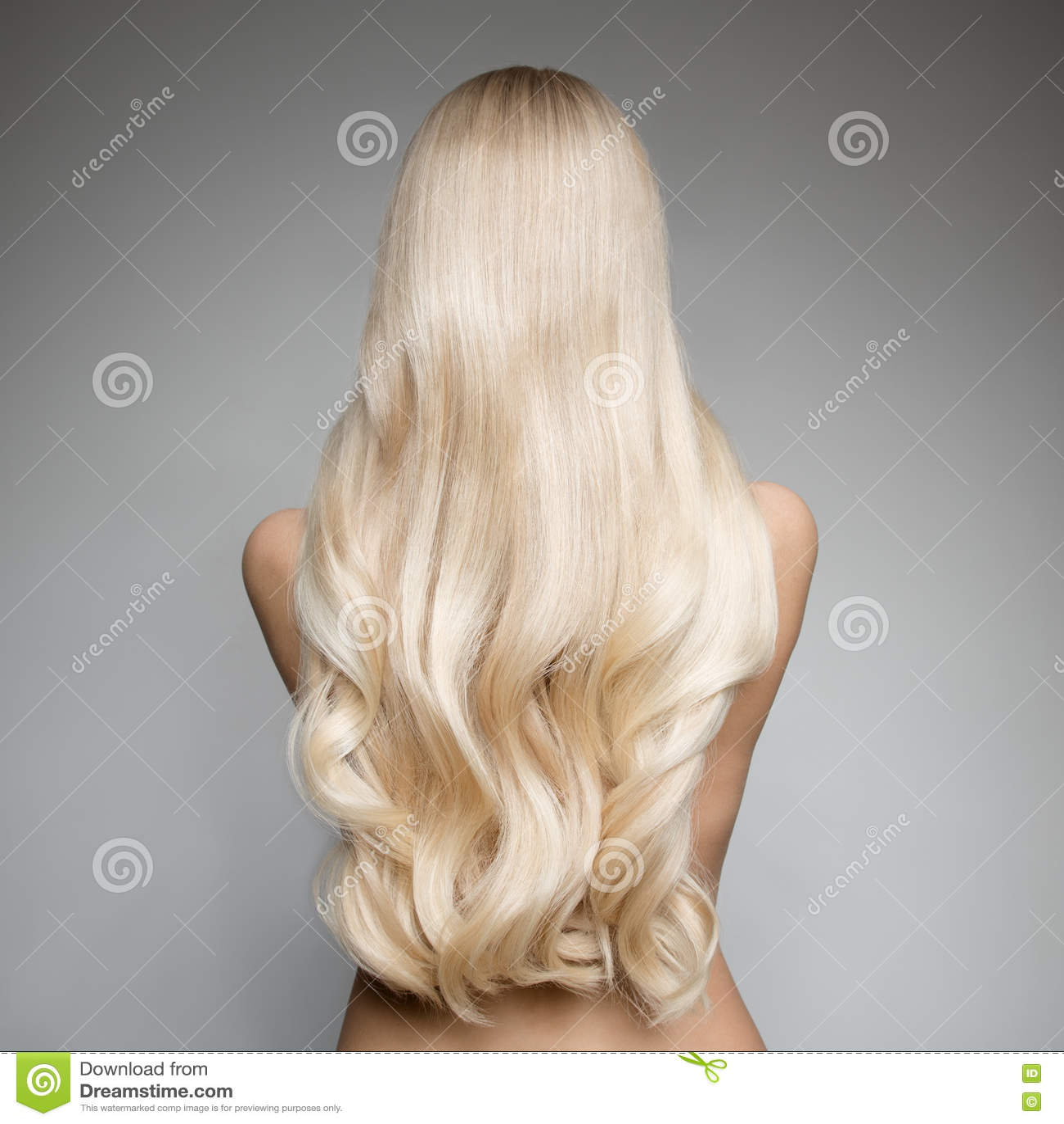 一名美丽的年轻白肤金发的妇女的画象有长的波浪发的