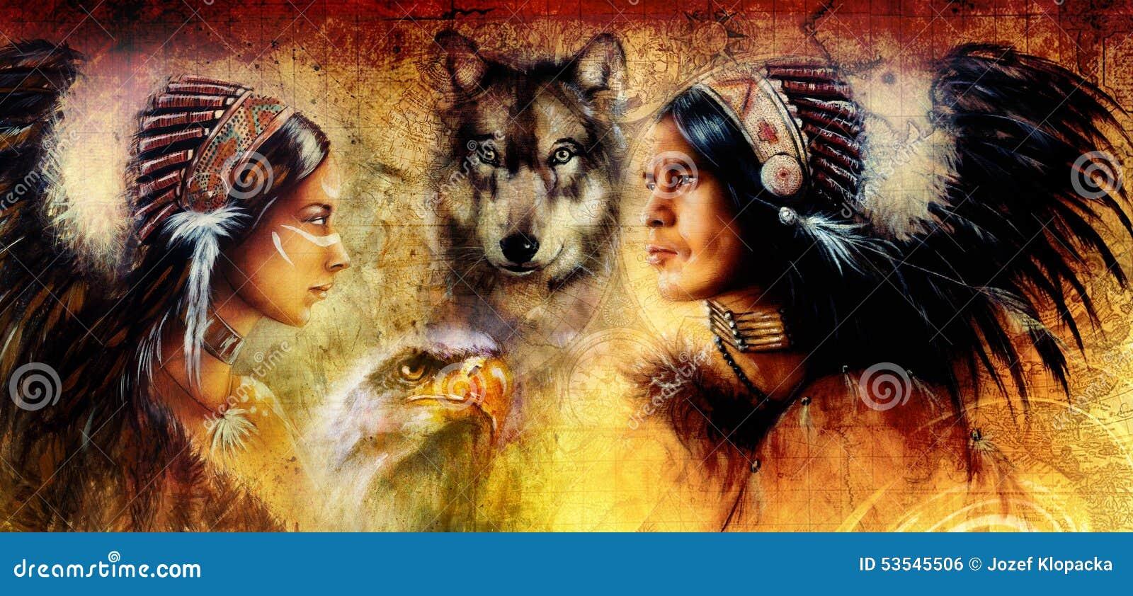 黄色片五太狼_一名年轻印地安男人和妇女的美丽的图画伴随于狼和老鹰在黄色装饰品