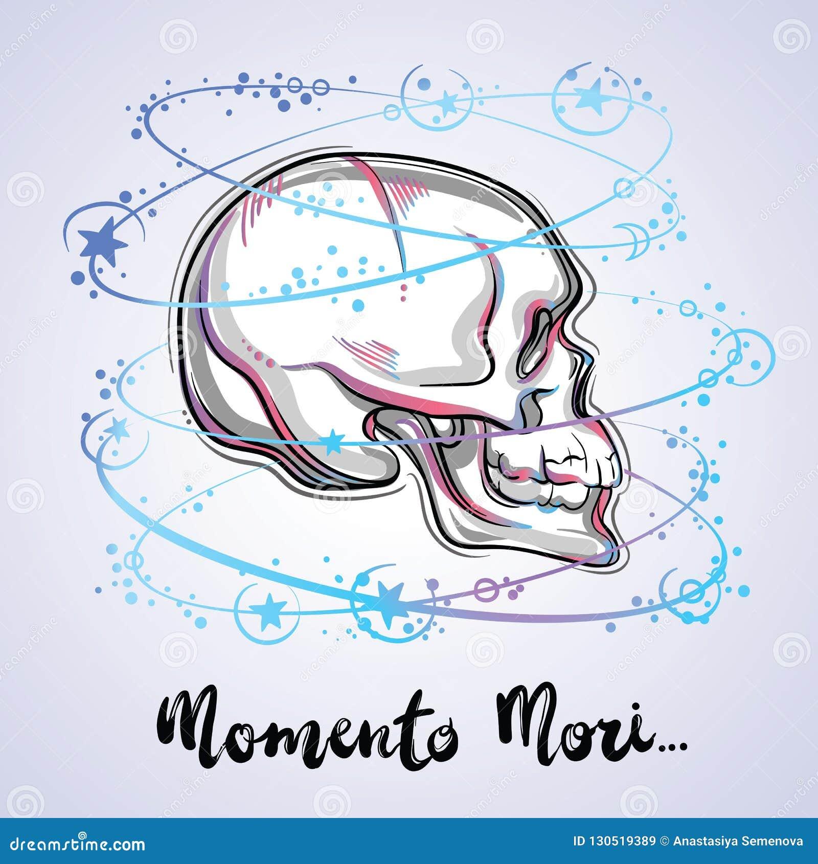 一块人的头骨的时髦传染媒介例证-神圣的生活和痛苦的事实的标志 葡萄酒纹身花刺设计和神秘的标志