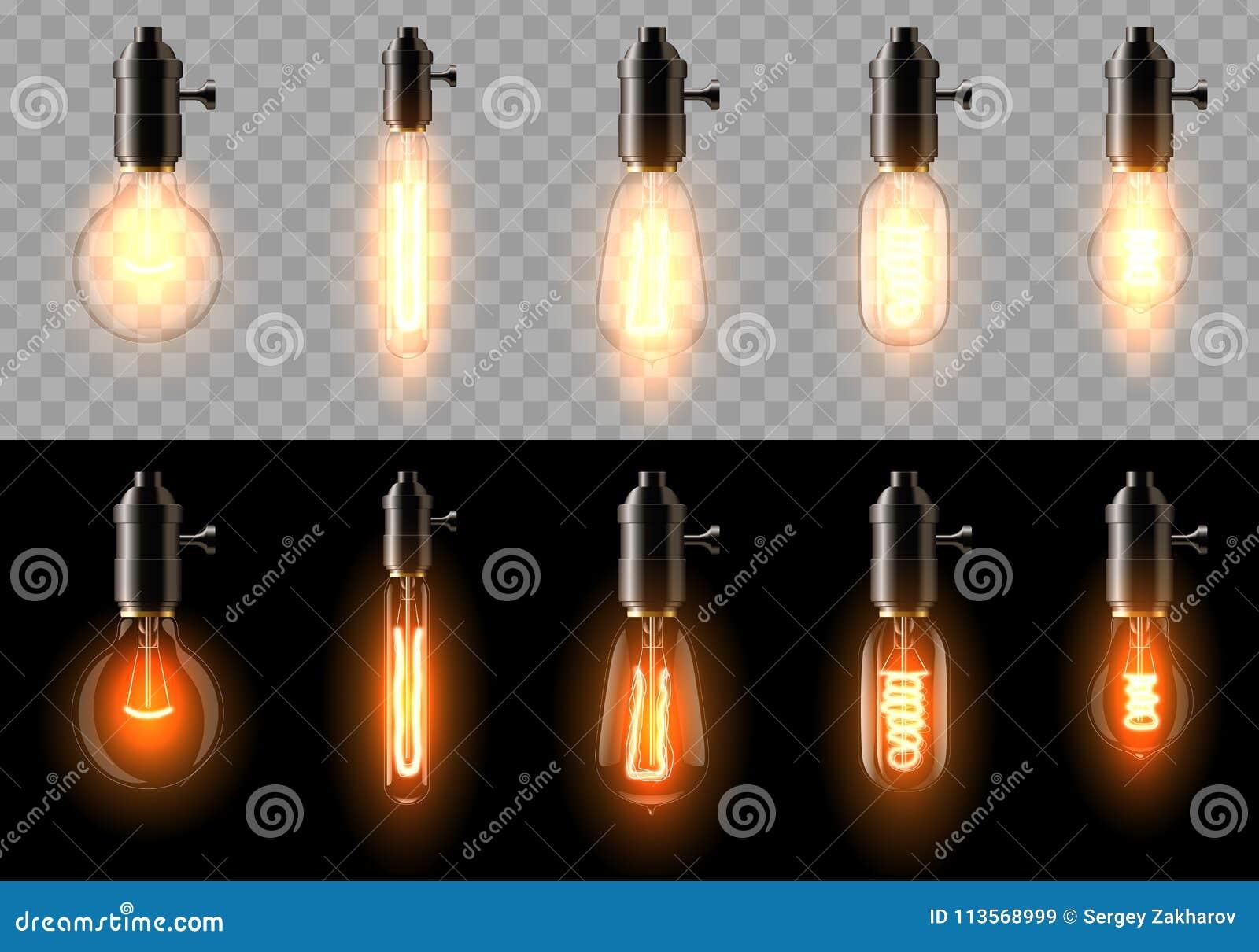 一套不同的形状老,经典,减速火箭的白炽电灯泡  在透明和黑背景