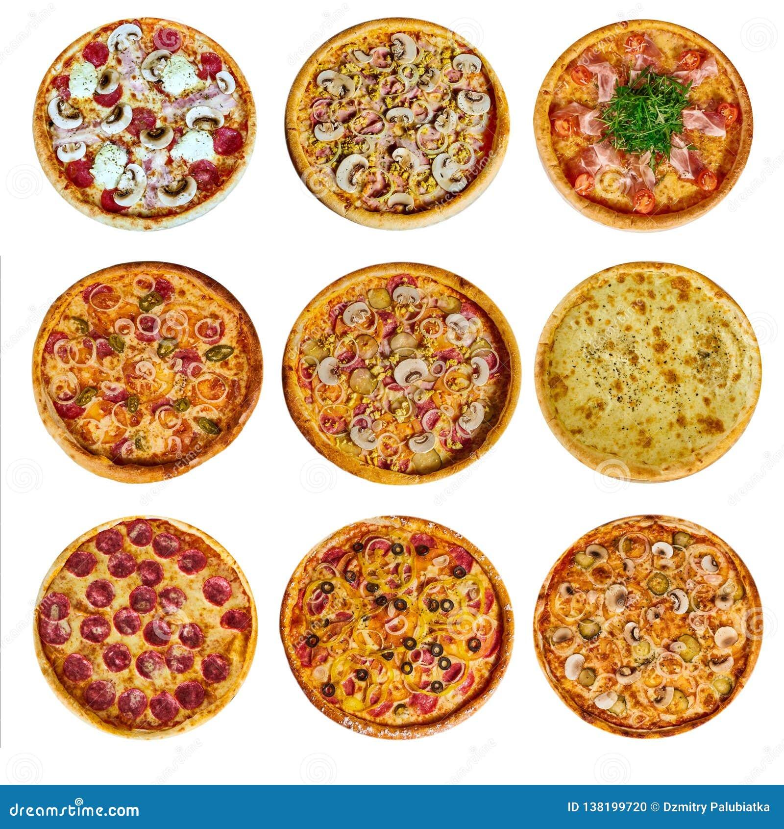 一套九菜单的不同比萨,用乳酪,用火腿,用蒜味咸腊肠,用蘑菇,与holopina用蕃茄