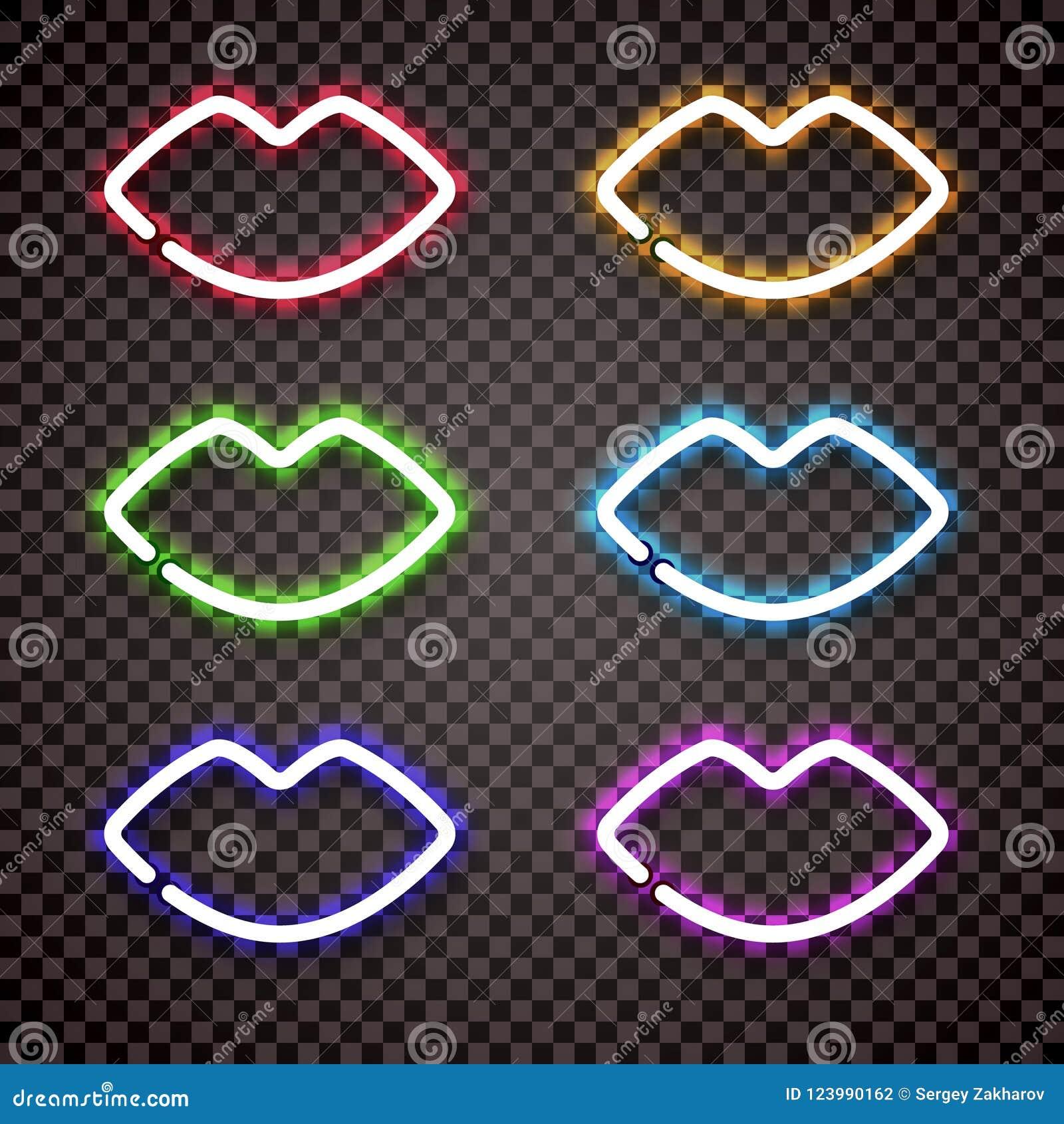 一套以妇女` s嘴唇的形式多色的霓虹灯