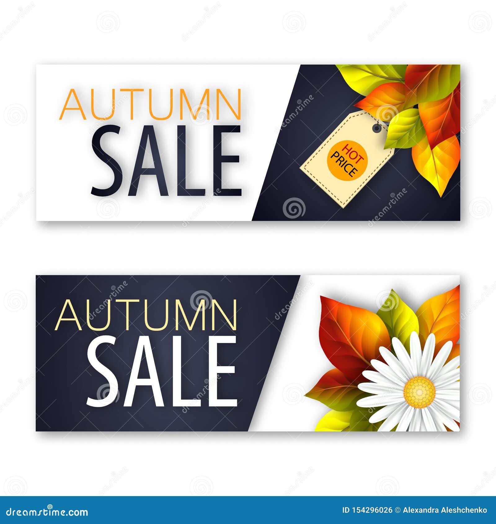 一套挂着真实鲜花和落叶的秋季销售横幅。一套挂着真实鲜花和落叶的秋季销售横幅。矢量图