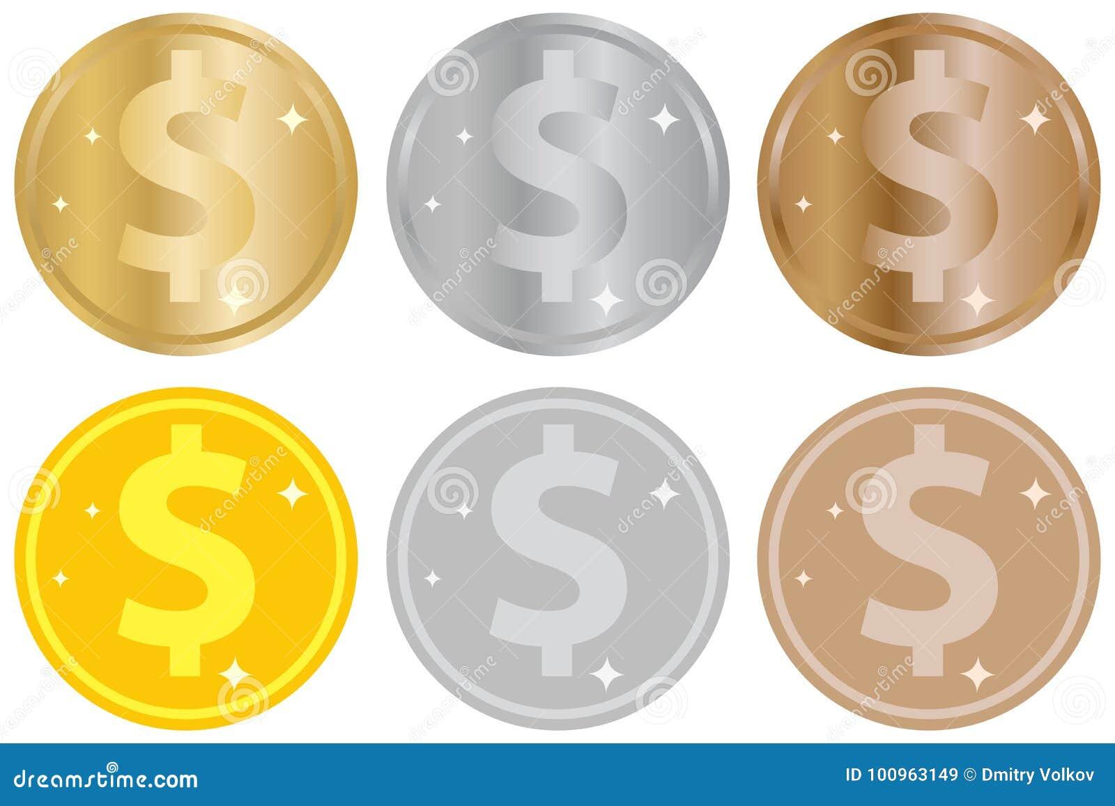 一套硬币、金、银或者古铜硬币