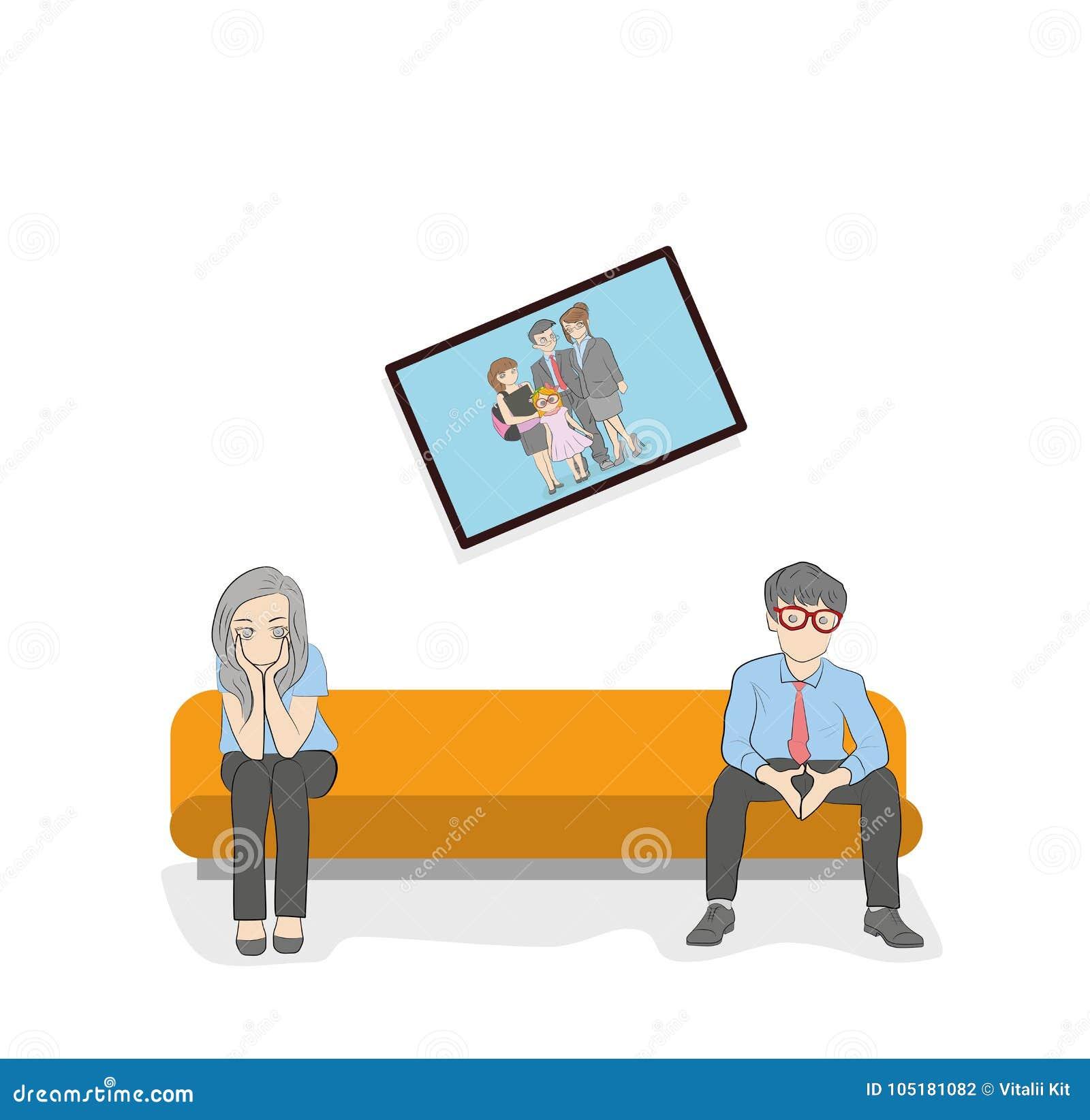一对已婚夫妇坐长沙发 冲突情况 家庭关系的发展的概念 也corel凹道例证向量