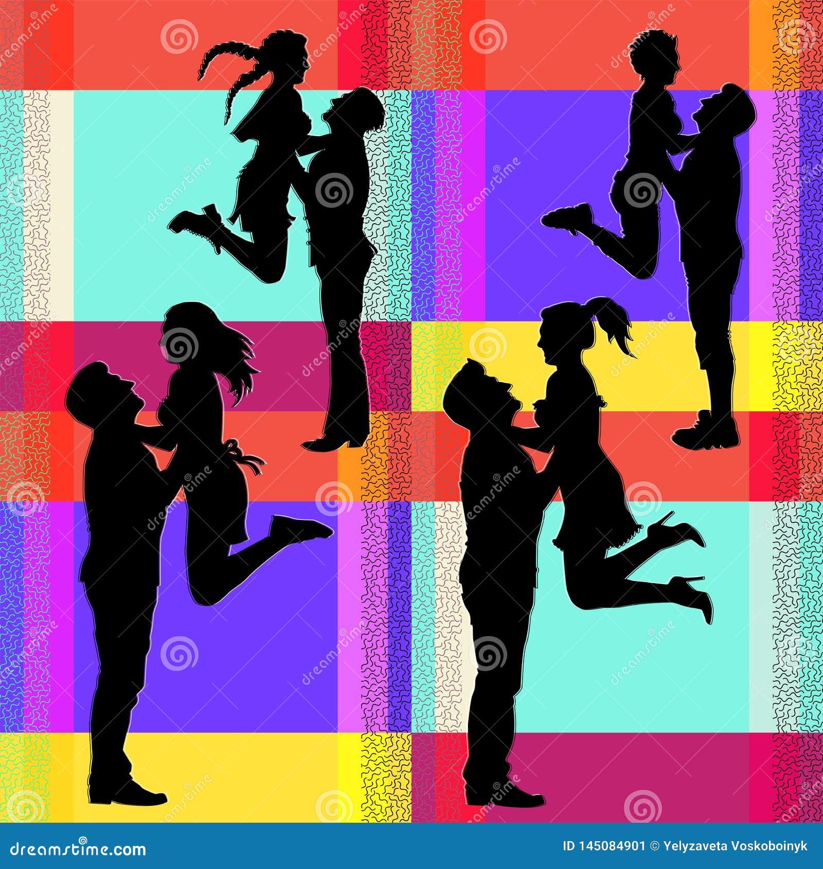 一对快乐的跳跃的夫妇的传染媒介剪影
