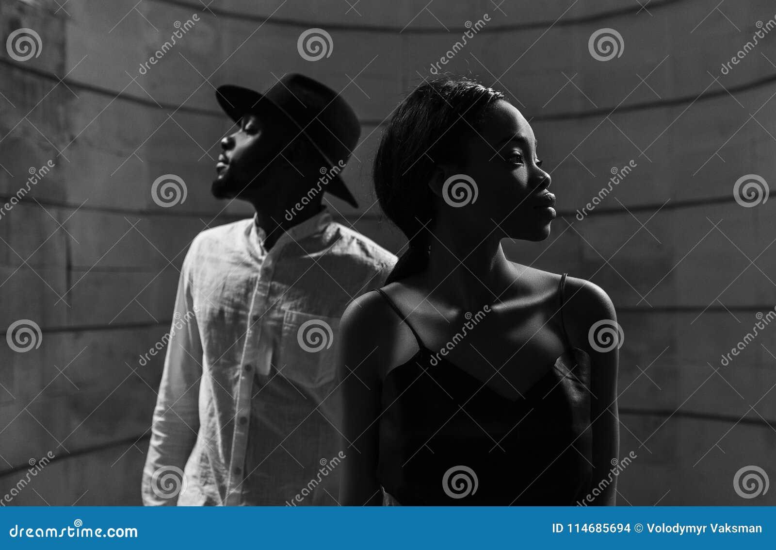 一对美好的非裔美国人的夫妇的画象