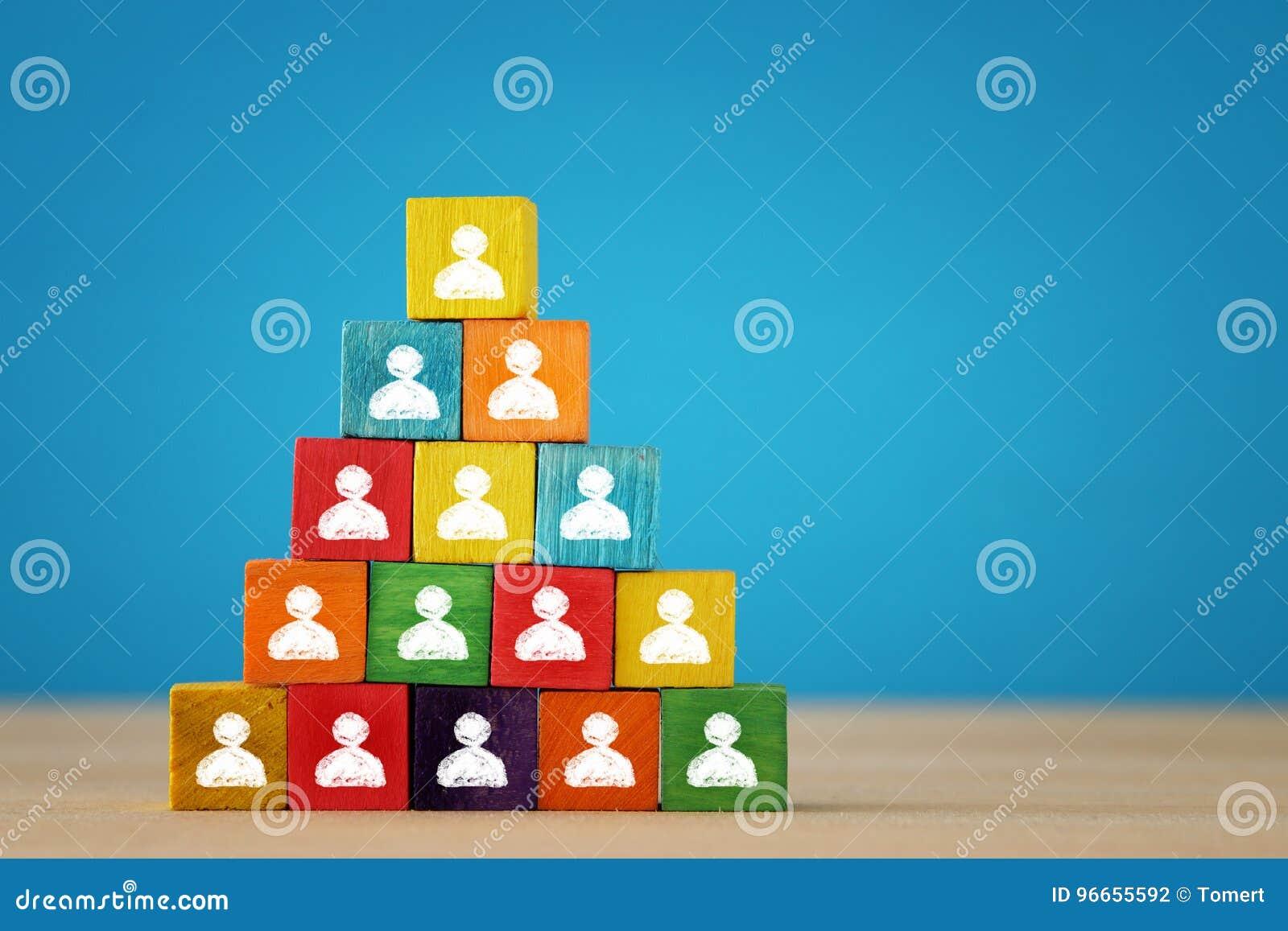 一座木刻金字塔的图象与人象的在木桌、人力资源和管理概念