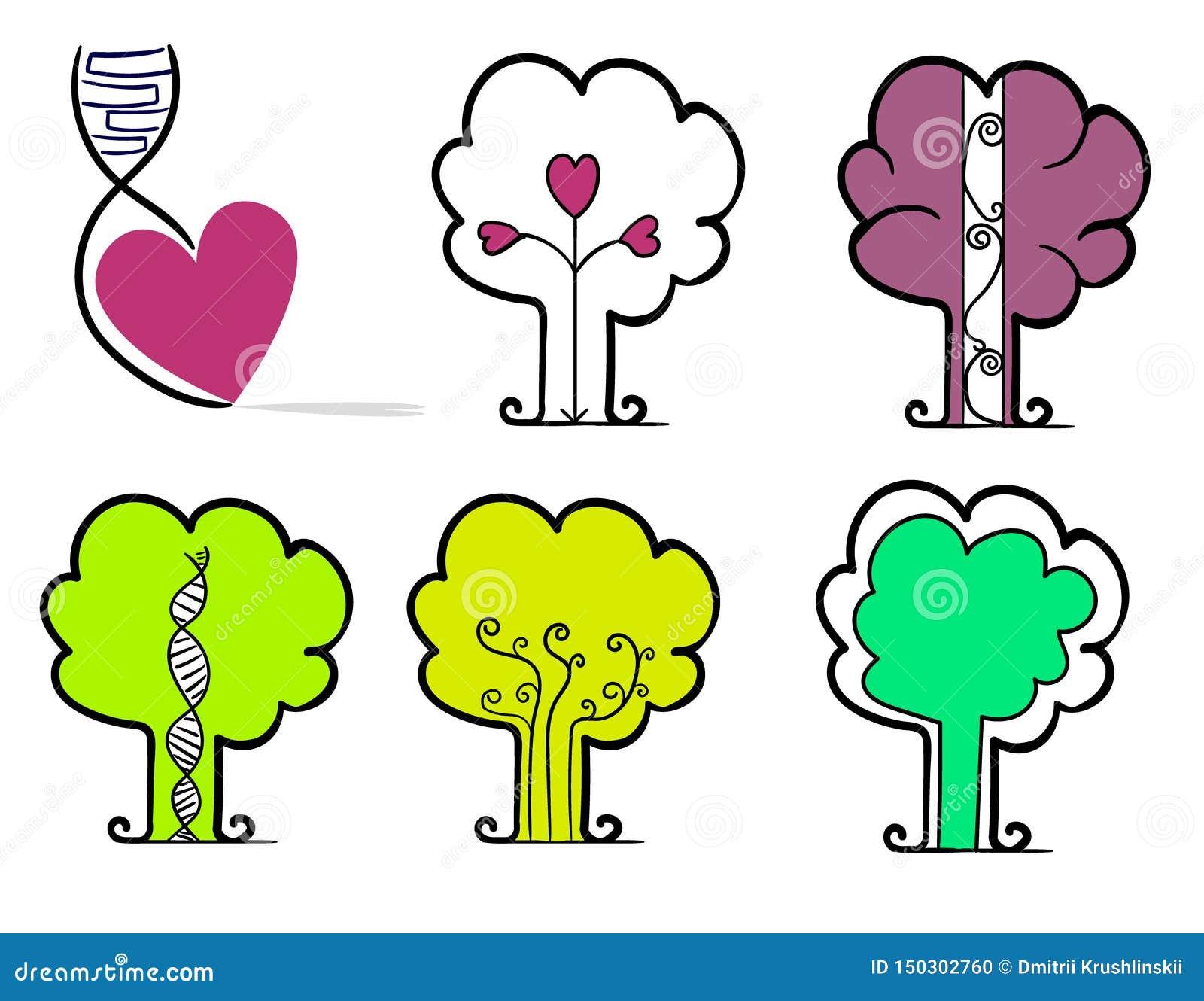 一心脏和五个平的等高对象以树的形式