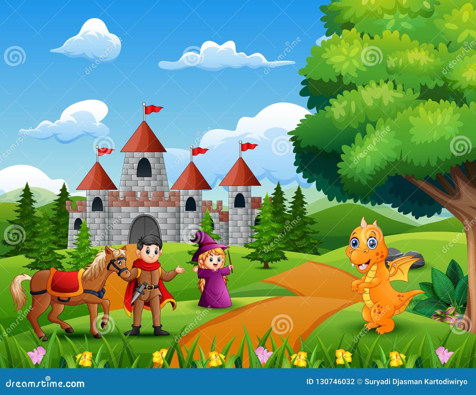 一条王子、巫婆和龙在导致城堡的路