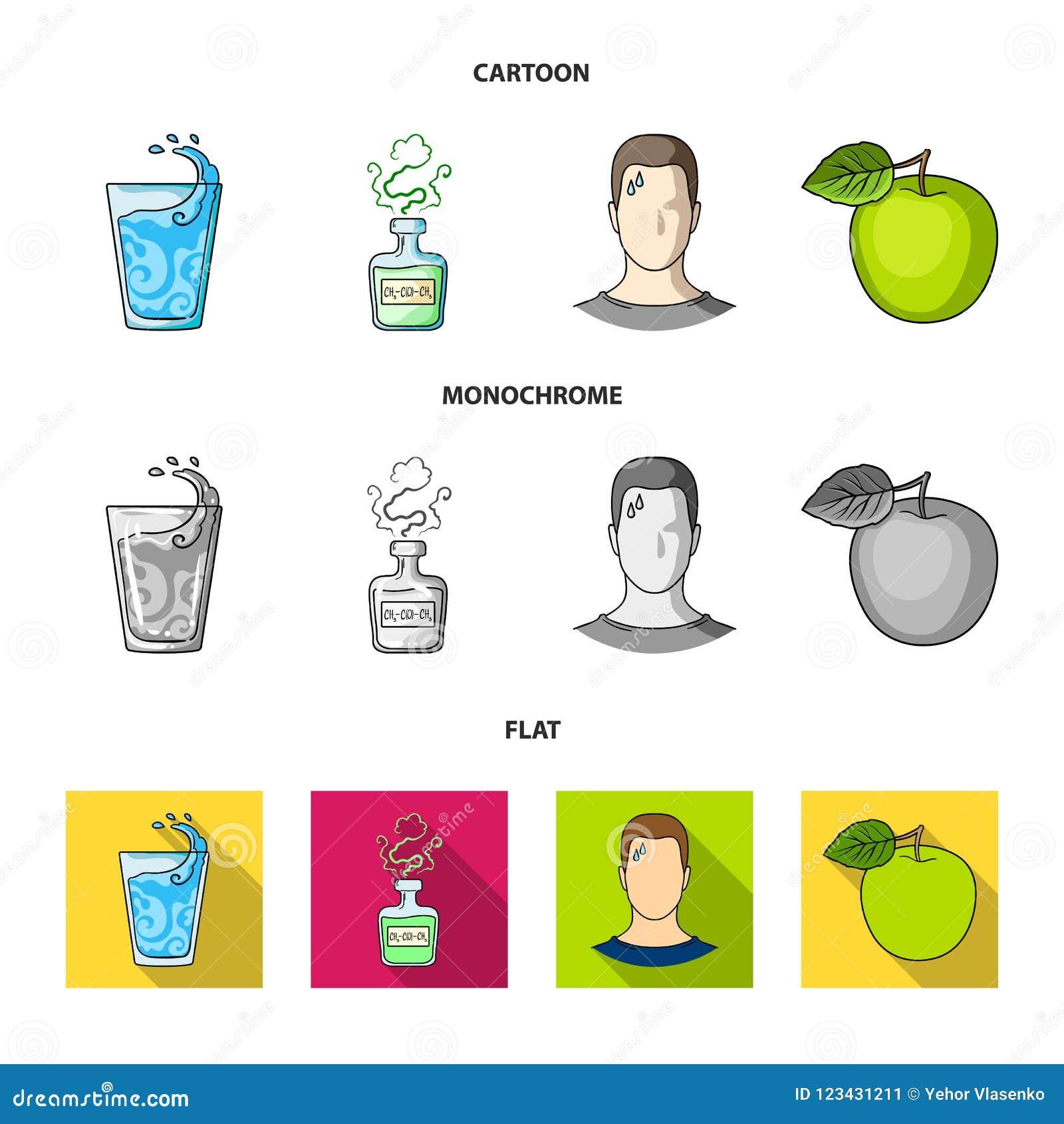 一杯水,一个瓶酒精,一个冒汗的人,苹果 在动画片的Diabeth集合汇集象,平,单色