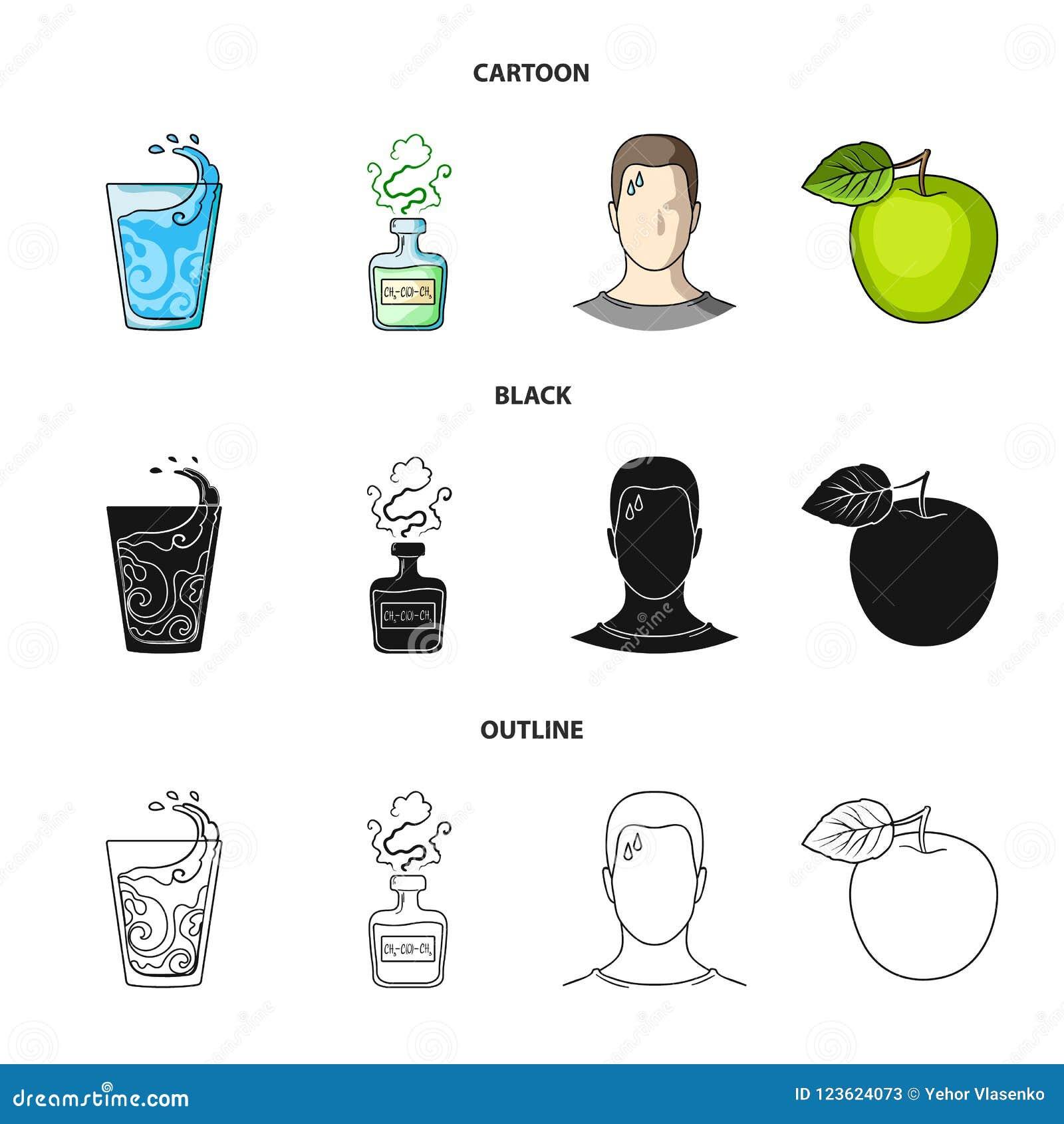 一杯水,一个瓶酒精,一个冒汗的人,苹果 在动画片,黑色,概述的Diabeth集合汇集象
