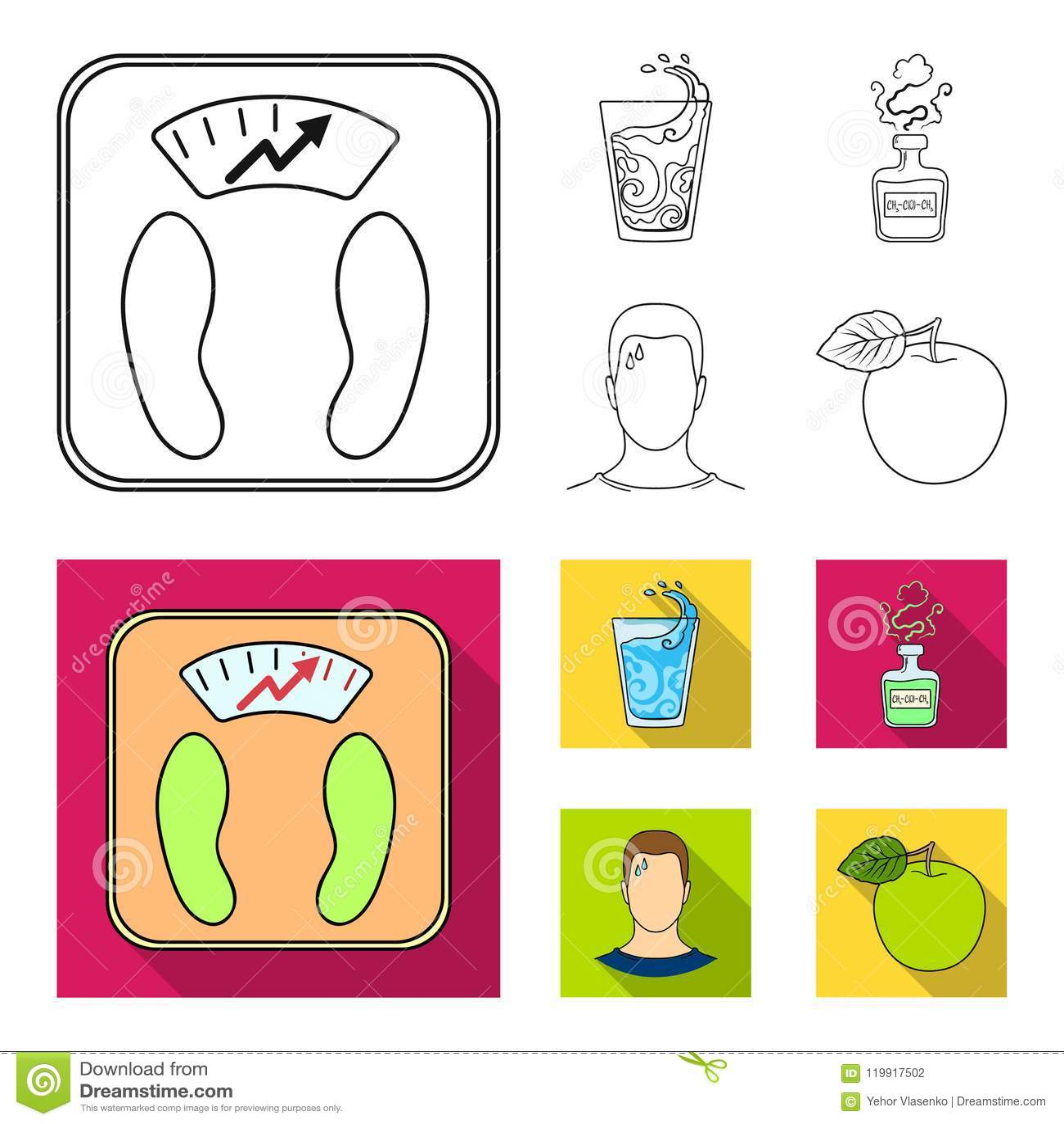 一杯水,一个瓶酒精,一个冒汗的人,苹果 在概述,平的样式的Diabeth集合汇集象