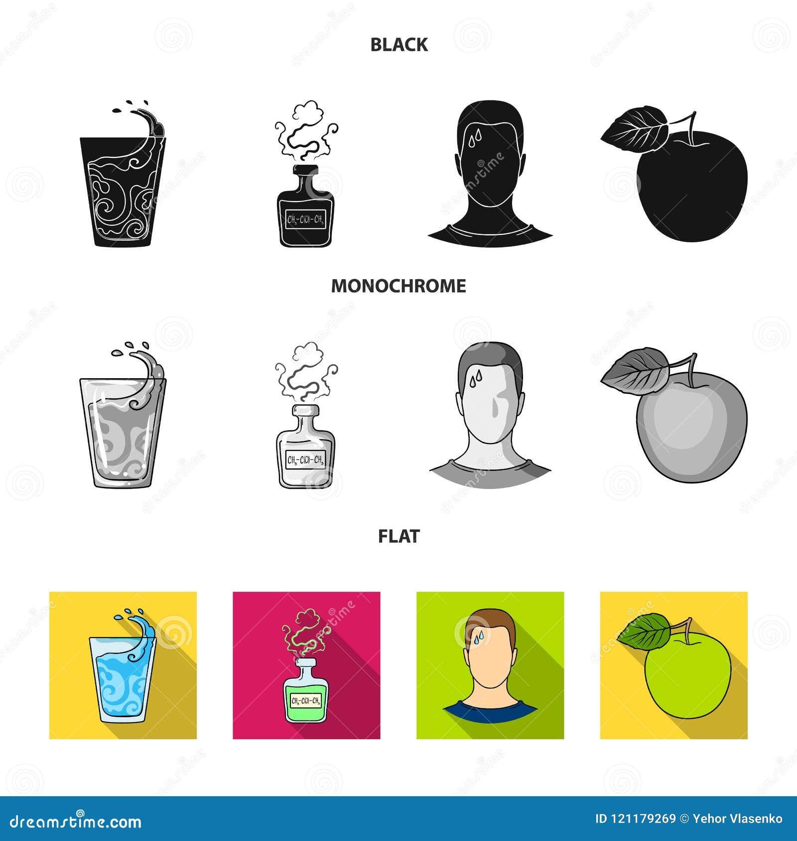 一杯水,一个瓶酒精,一个冒汗的人,苹果 在黑的Diabeth集合汇集象,平,单色