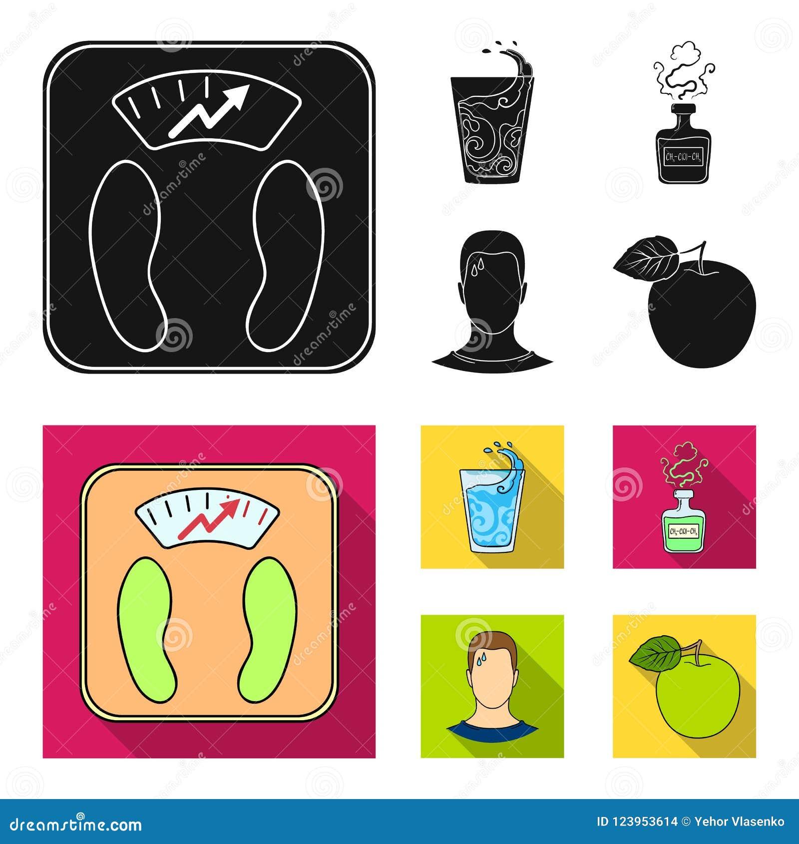 一杯水,一个瓶酒精,一个冒汗的人,苹果 在黑,平的样式传染媒介的Diabeth集合汇集象