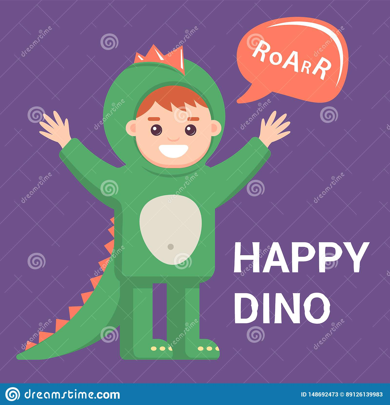 一点龙服装的婴孩在紫色背景 有恐龙的图象的逗人喜爱的男孩