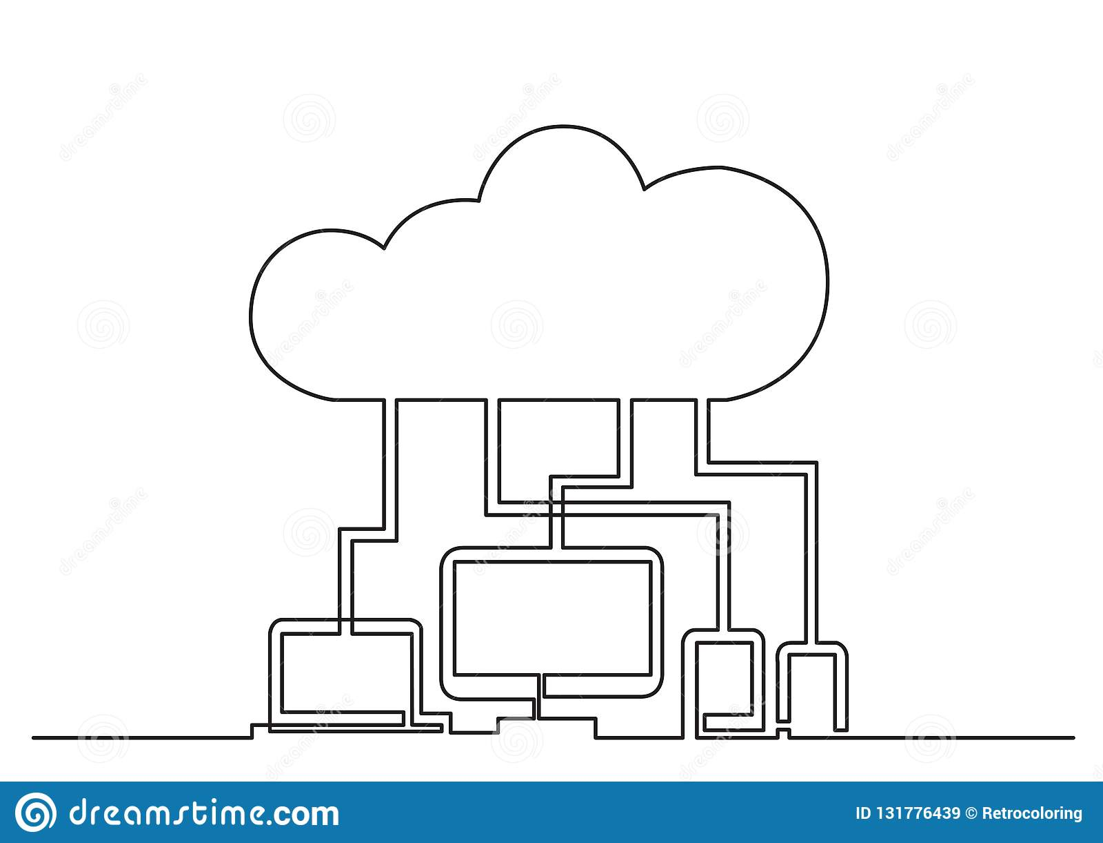 一被隔绝的传染媒介对象-通过云彩被连接的数字设备线描