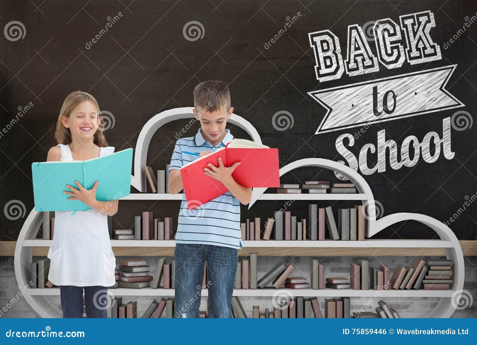 一起做他们的家庭作业的兄弟和姐妹的综合图象