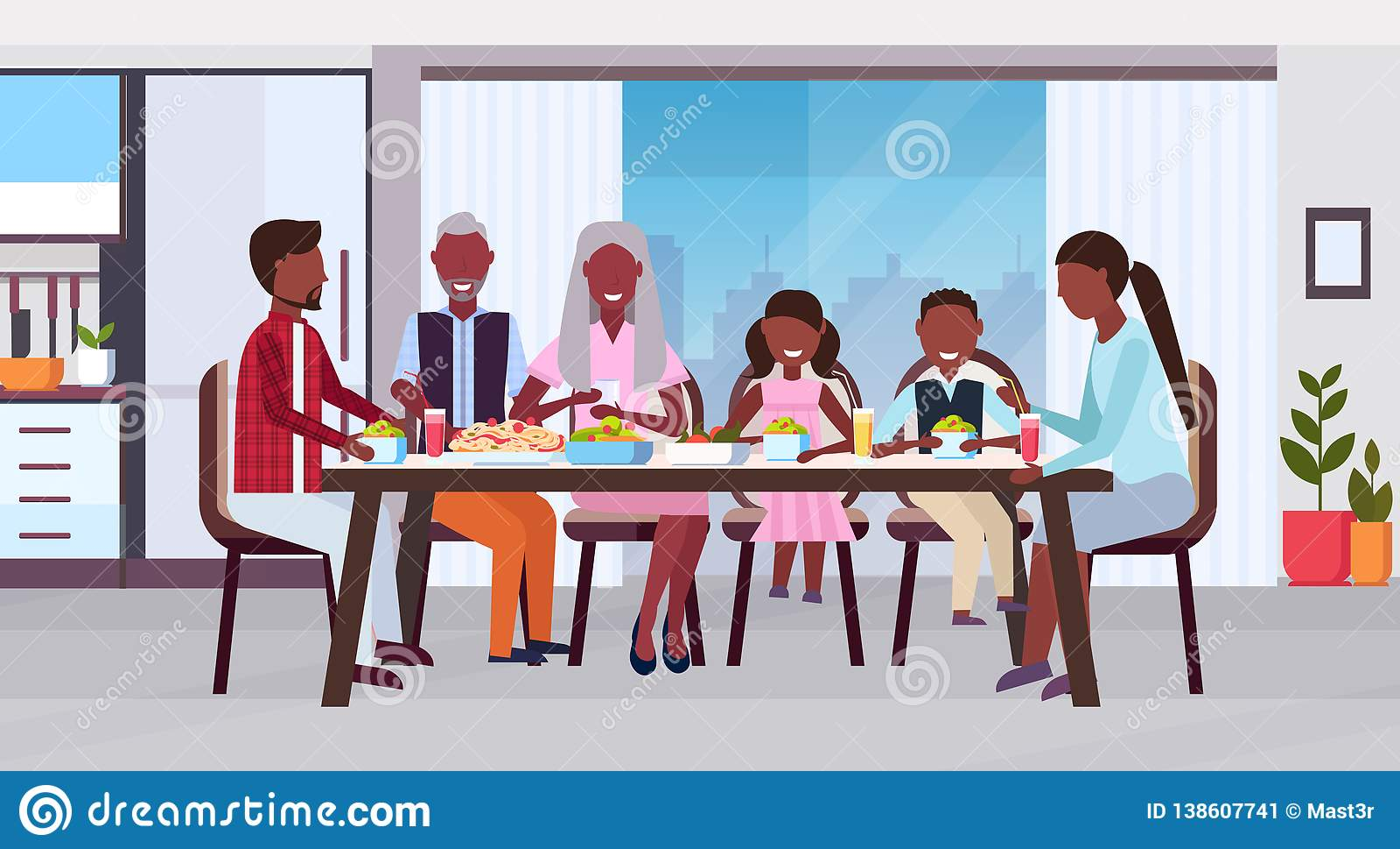一起坐在桌吃饭愉快的非裔美国人的祖父母父母附近的多一代家庭和