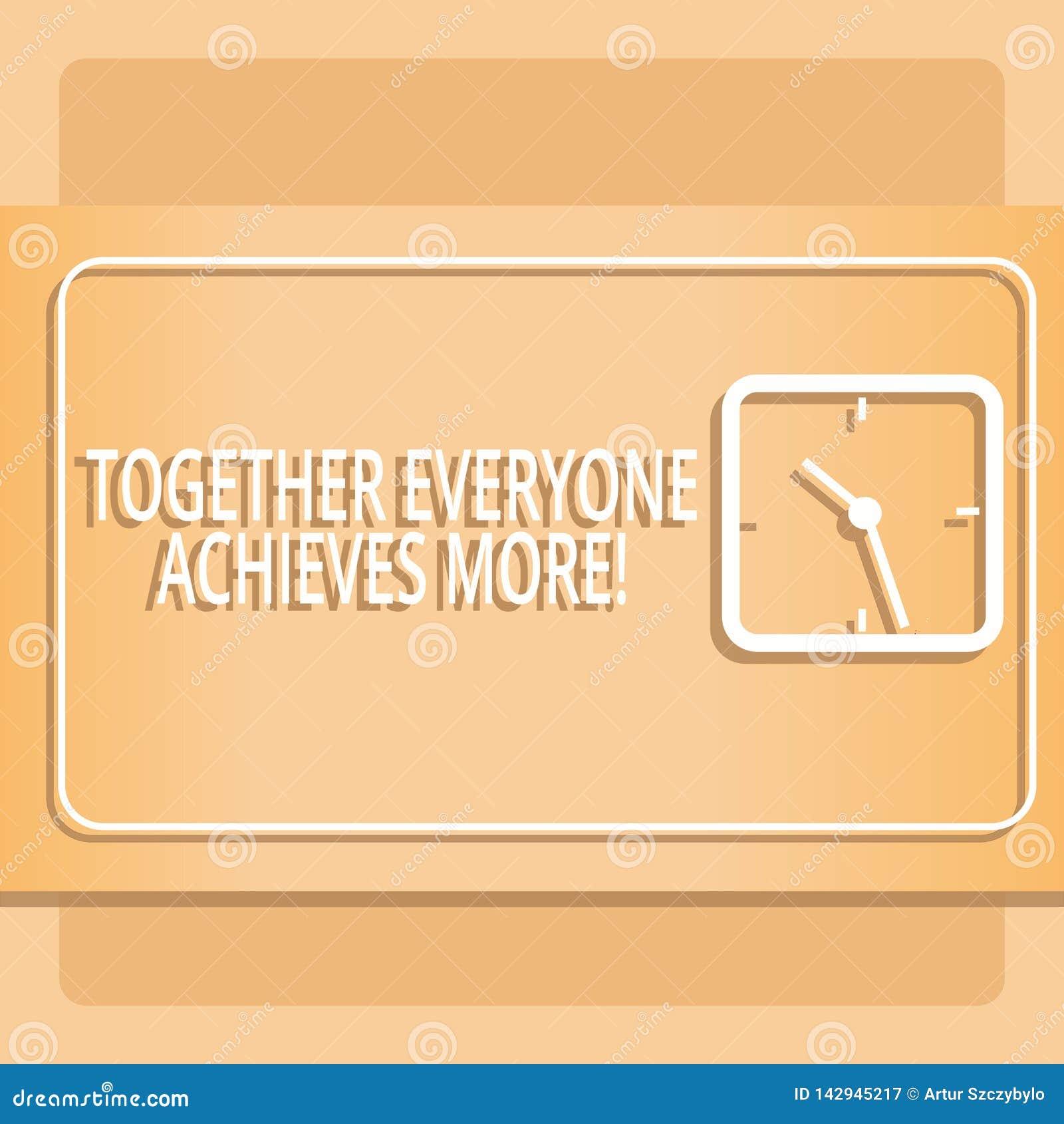 一起显示大家的文本标志达到更多 概念性照片成员创造共同作用强的感觉承诺