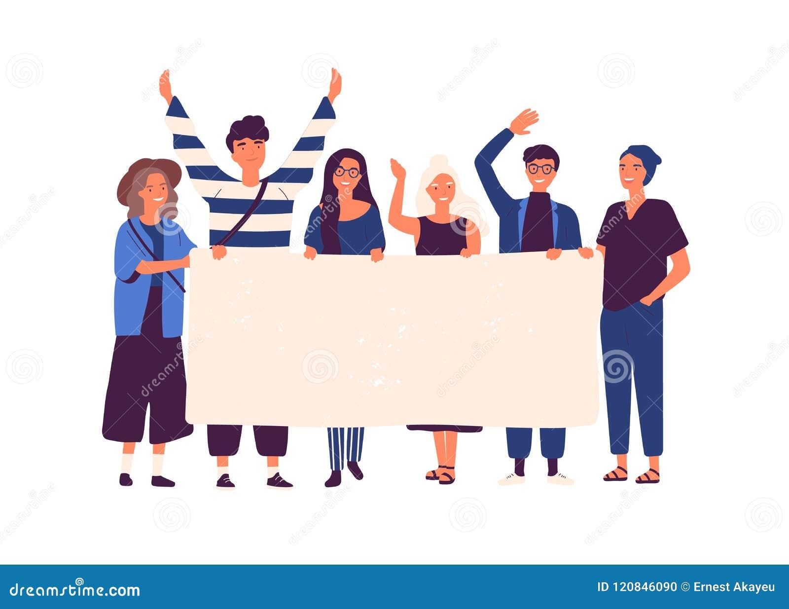 一起站立和拿着空白的横幅的小组年轻人和妇女 参与在游行或集会的人们 男性和