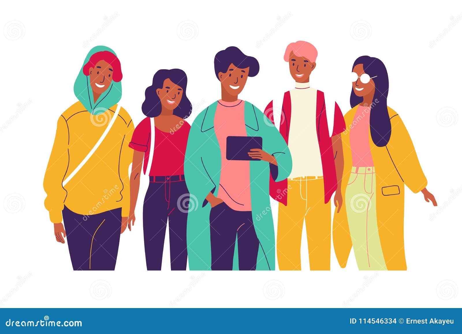一起观看录影的愉快的朋友 小组年轻微笑的男人和妇女在看片剂的时髦衣裳穿戴了
