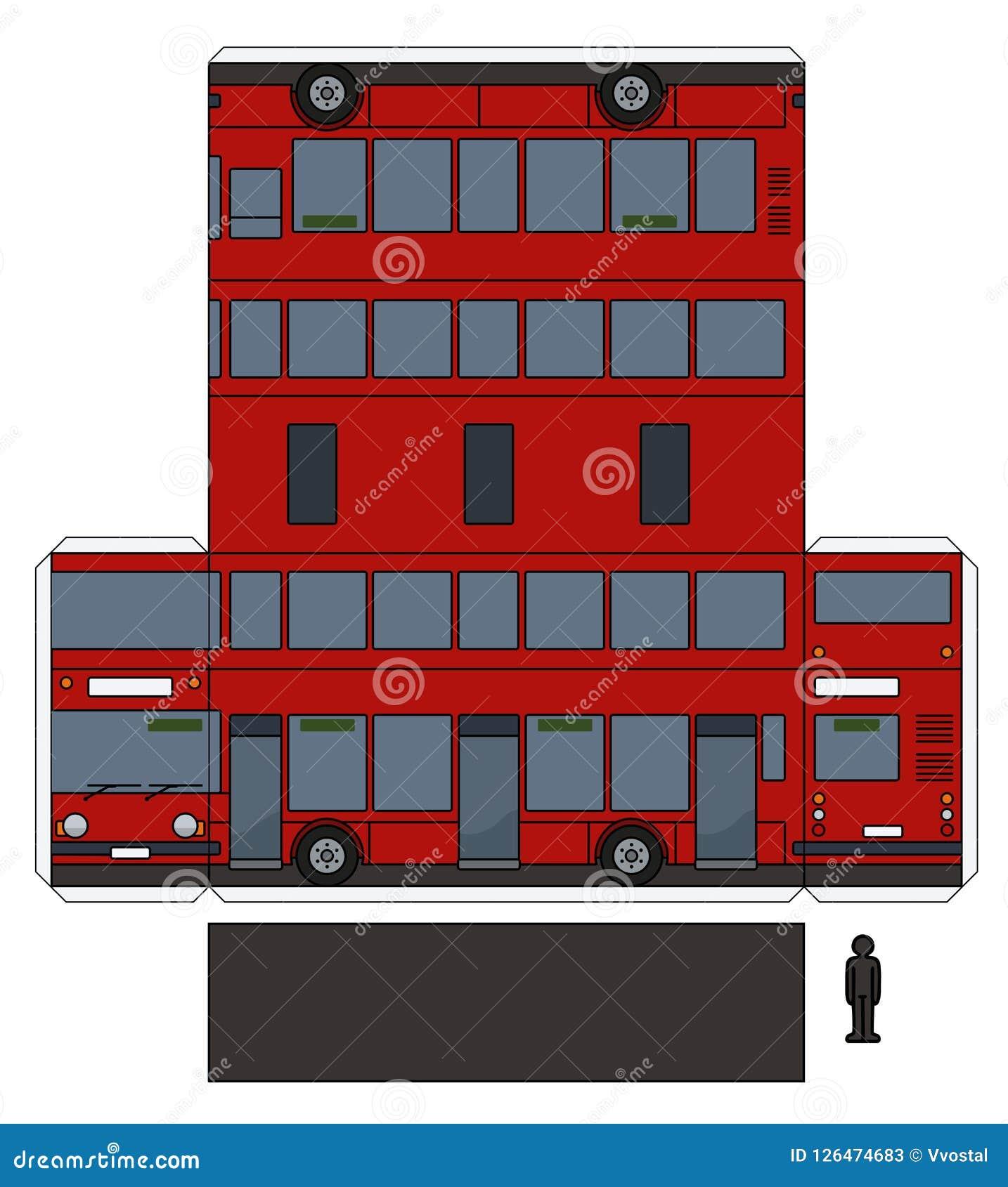 一辆红色双层汽车的纸模型