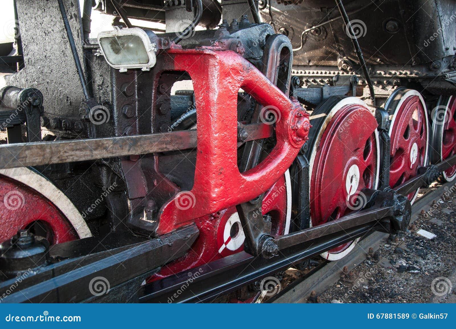 一辆老蒸汽机车的轮子