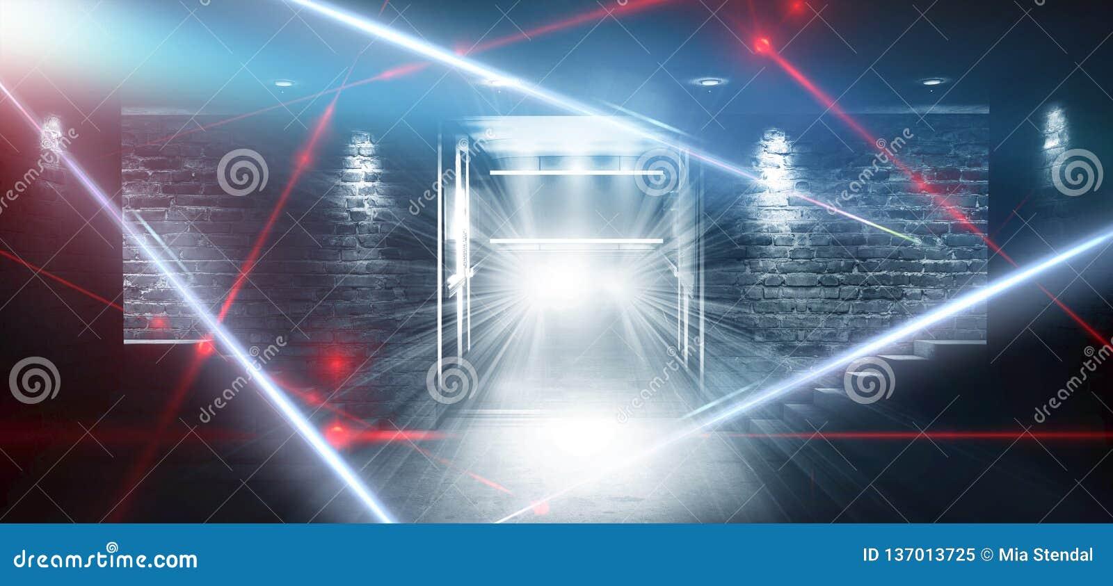 一间空的黑暗黑屋子的背景 空的砖墙,光,烟,焕发,光芒