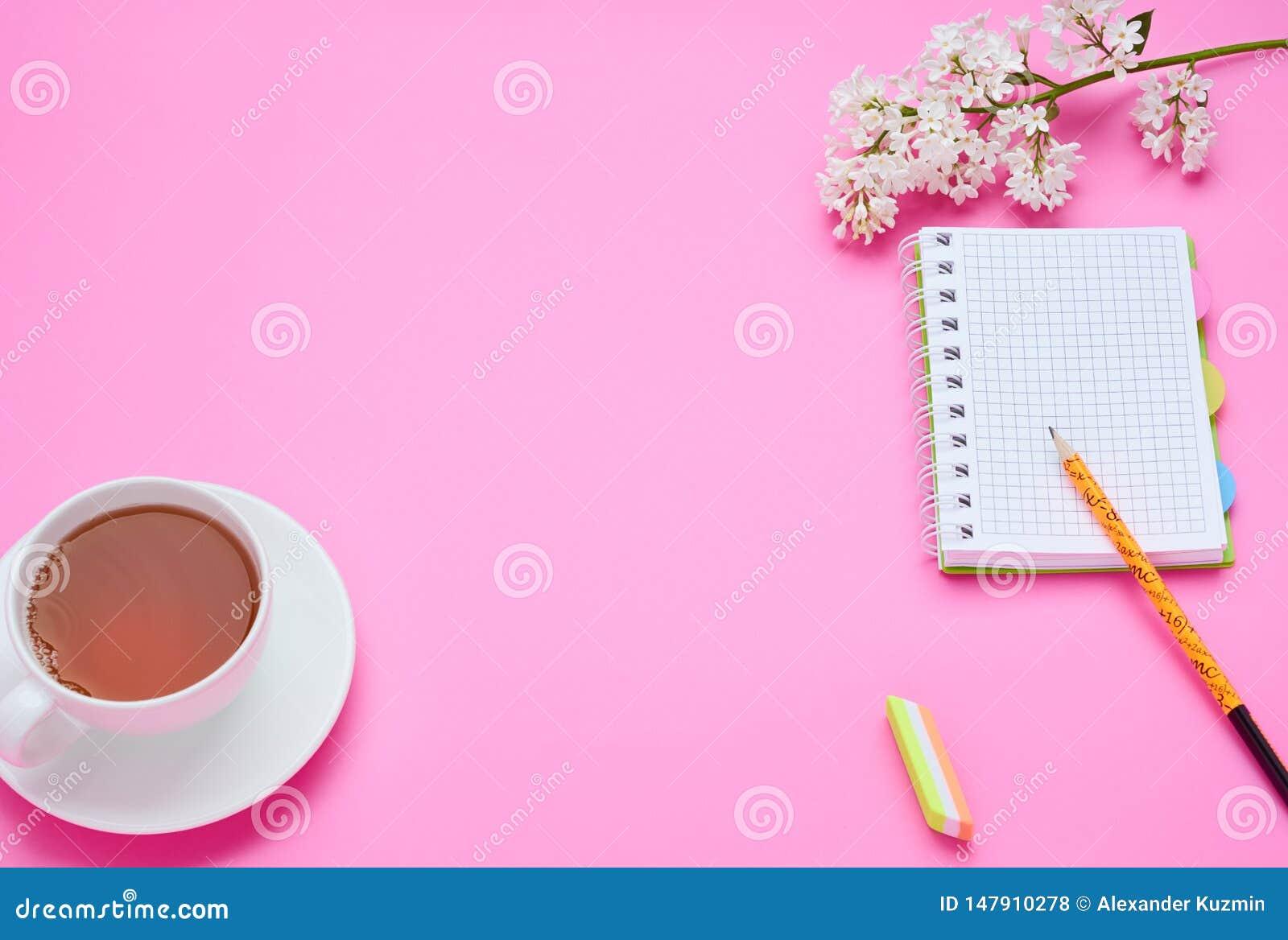 一面少年儿童,铅笔笔记本花的构成的桌的顶视图每杯在桃红色背景的饮料