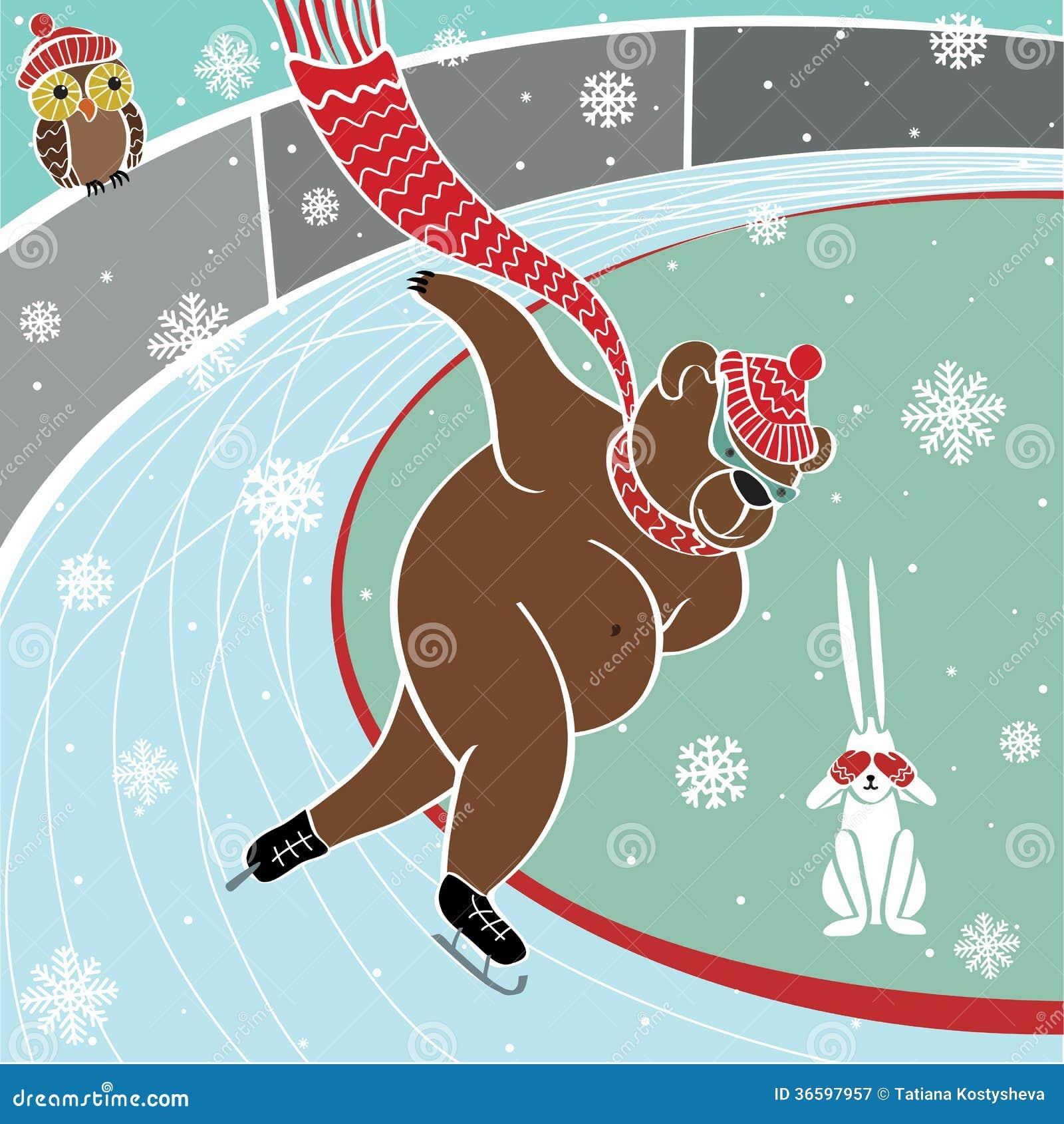 一头棕熊是短跑选手滑冰。幽默传染媒介