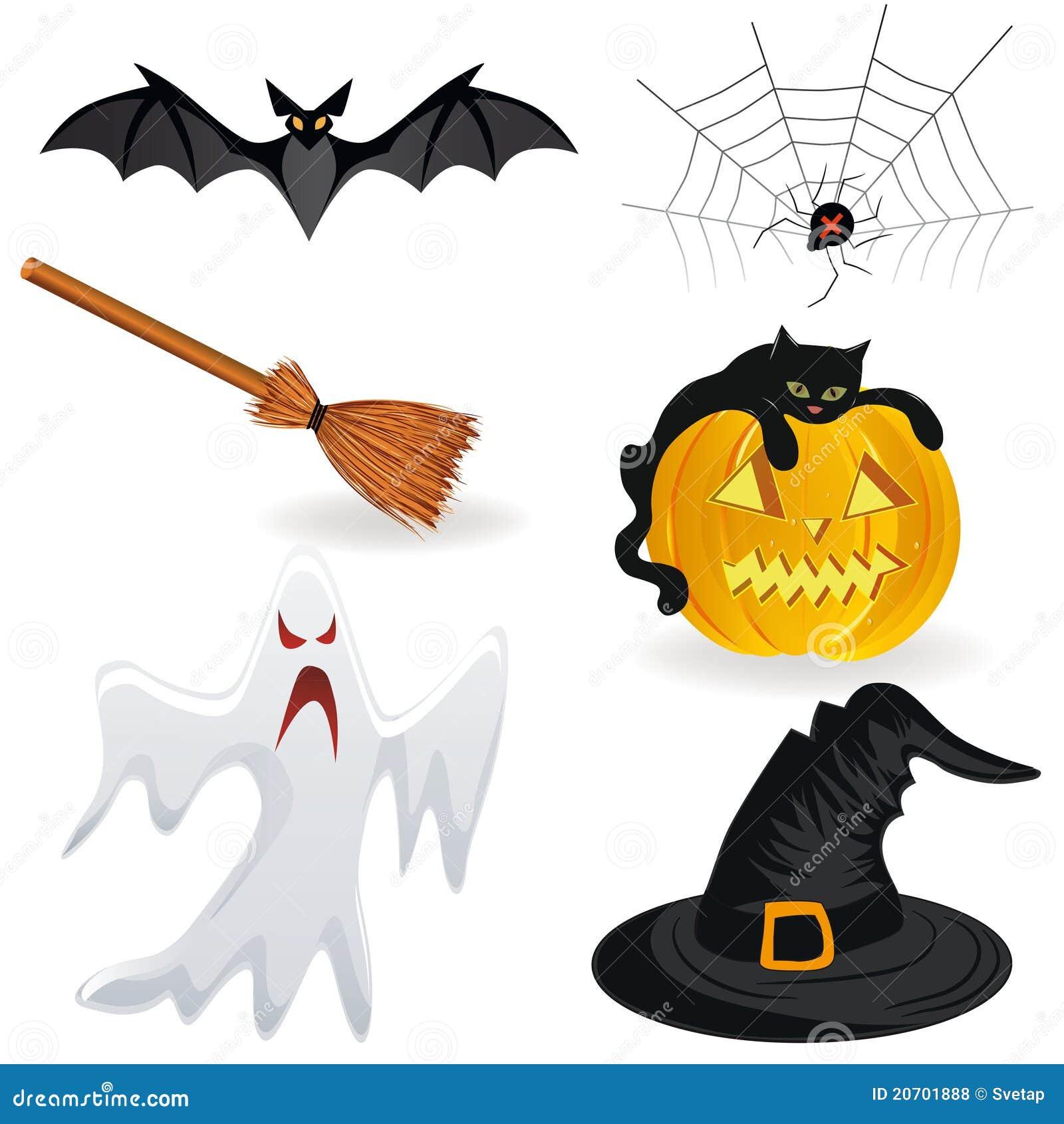 击笤帚鬼魂万圣节帽子图标南瓜蜘蛛.图片
