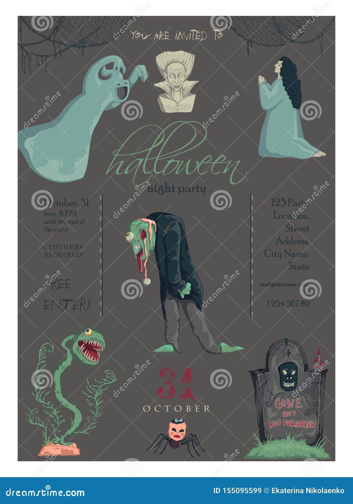 万圣节晚会邀请令人毛骨悚然的角色和装饰贺卡 壁纸 海报 传单的设计
