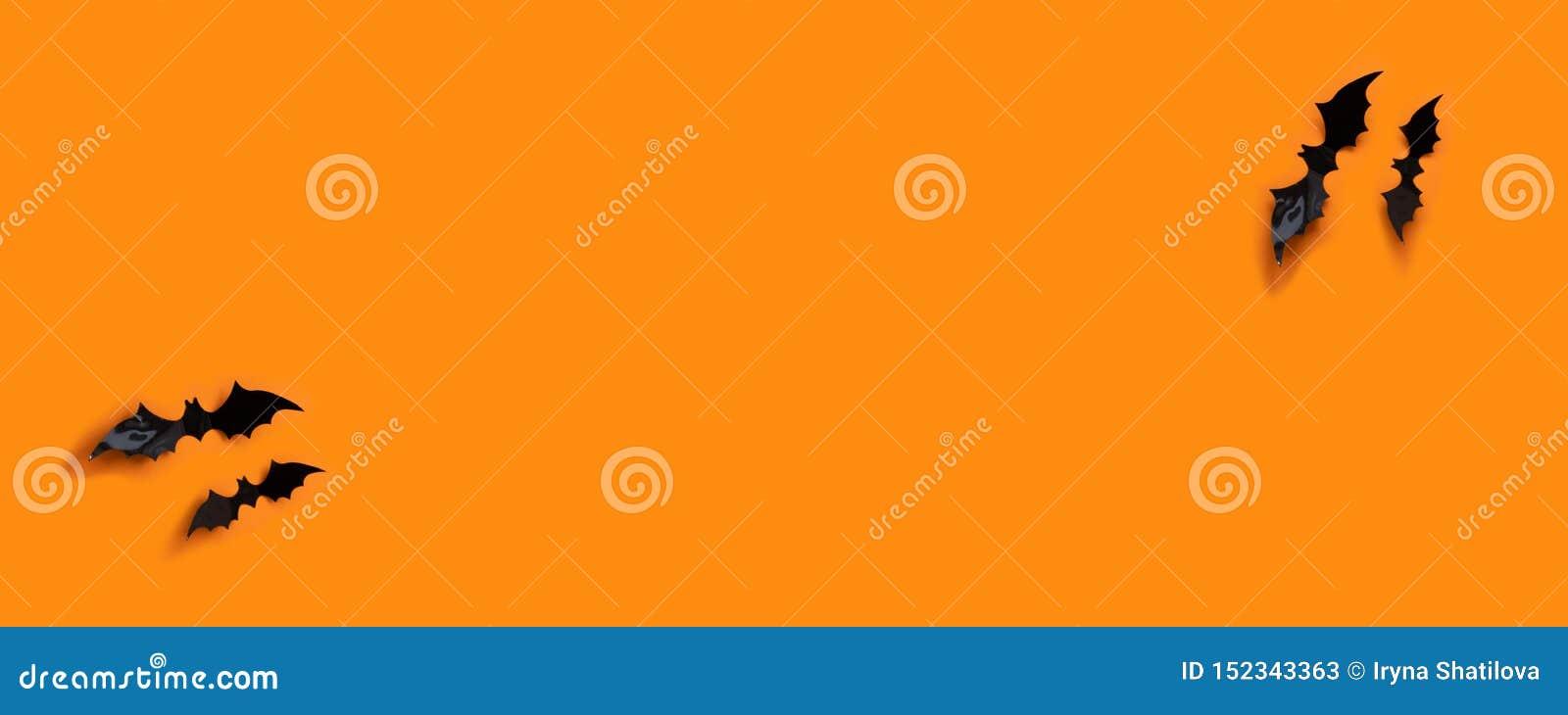 万圣节横幅与黑色,但是在橙色背景,顶视图
