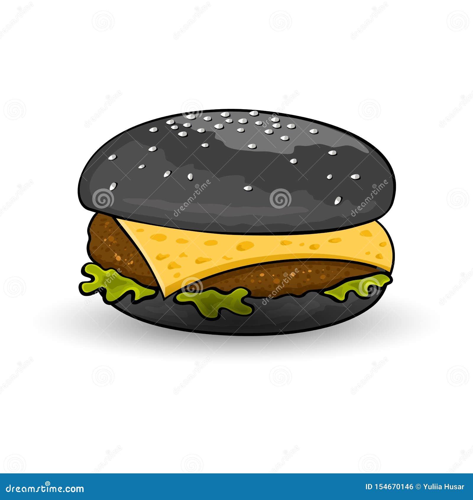 万圣节汉堡 黑乳酪汉堡用牛肉小馅饼,乳酪,莴苣,调味汁,芥末
