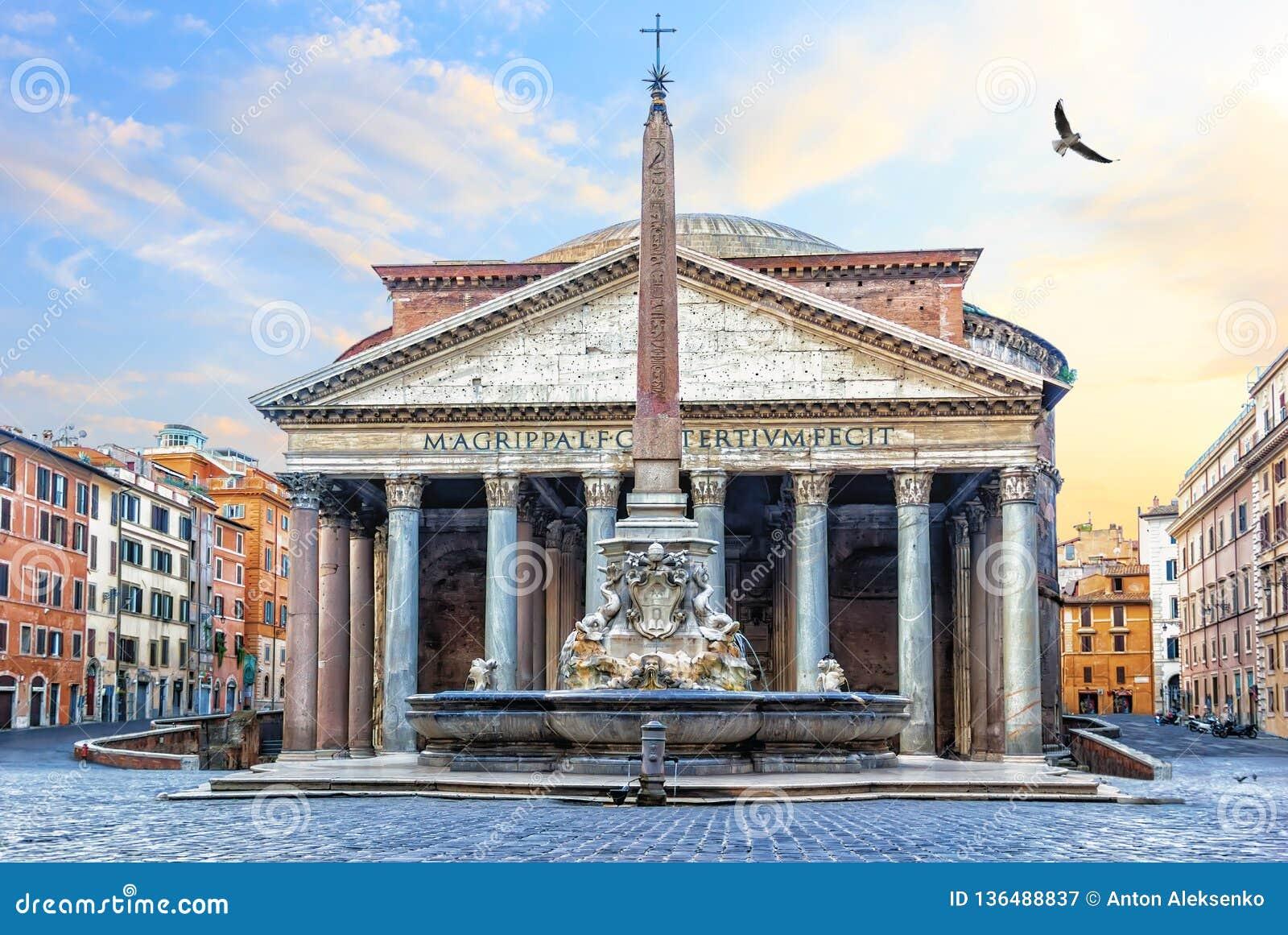 万神殿在罗马,意大利,在寺庙和喷泉的看法有一个专栏的在Rotonda广场
