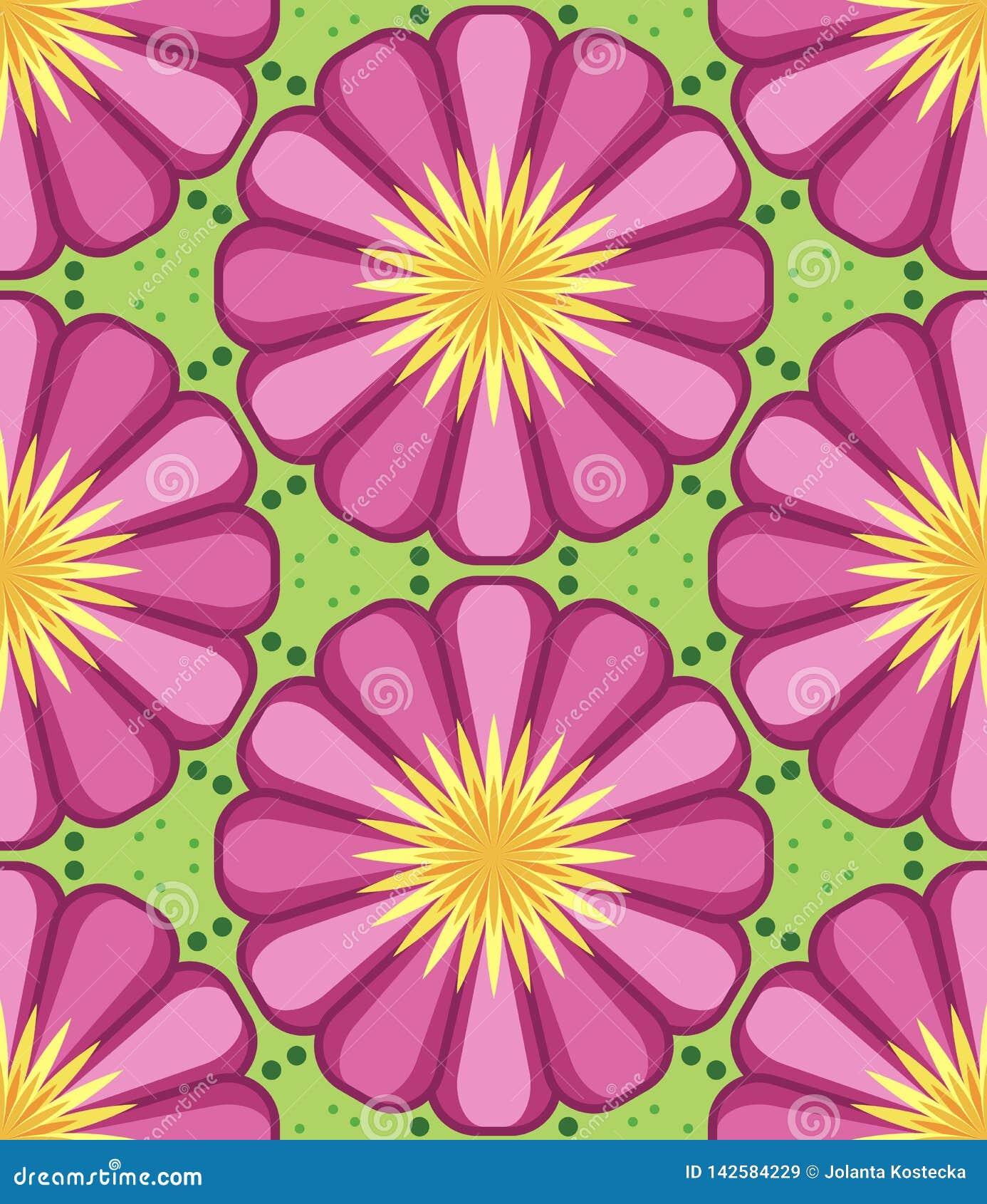 万花筒几何桃红色和绿色无缝的样式