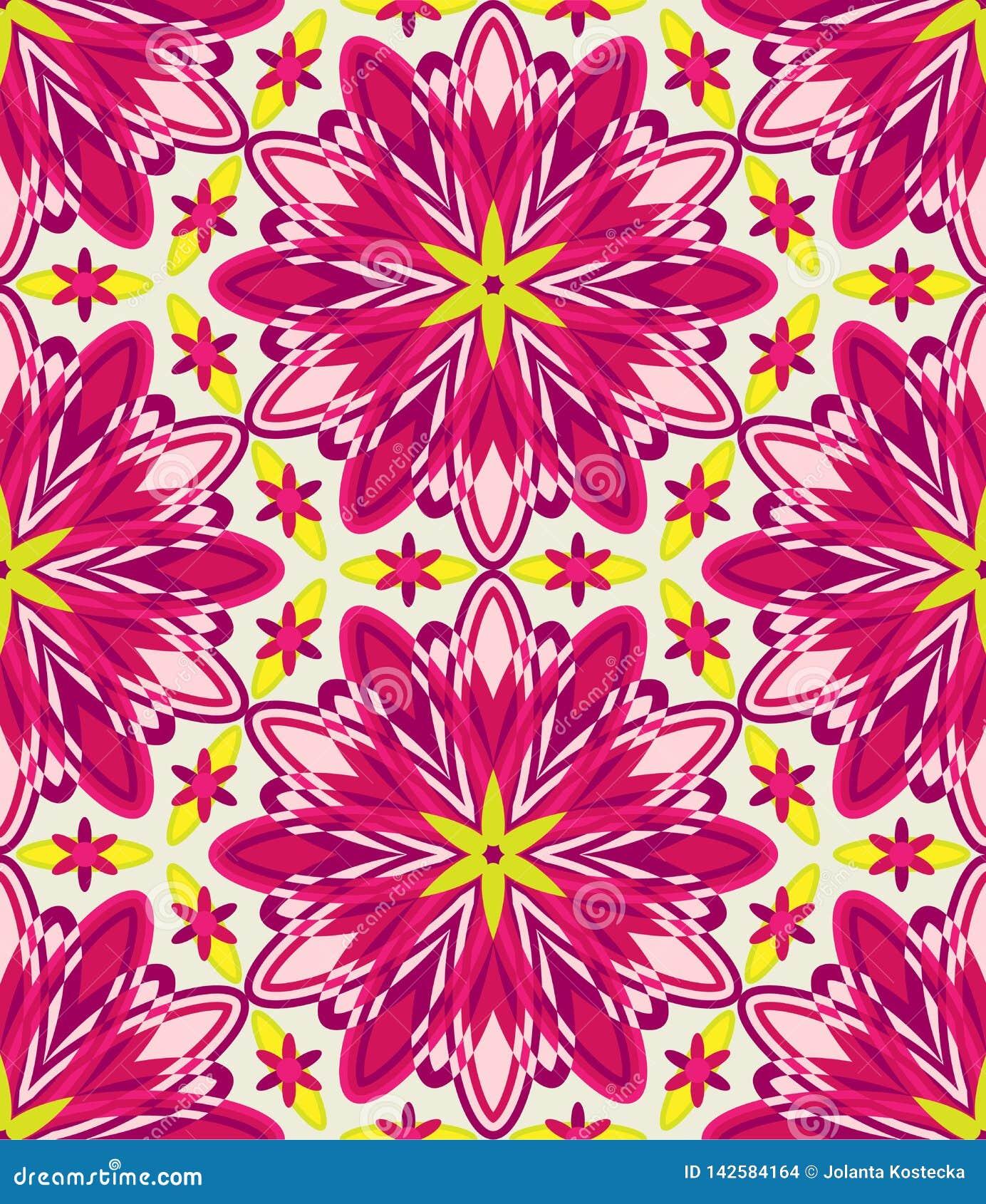 万花筒几何桃红色无缝的样式
