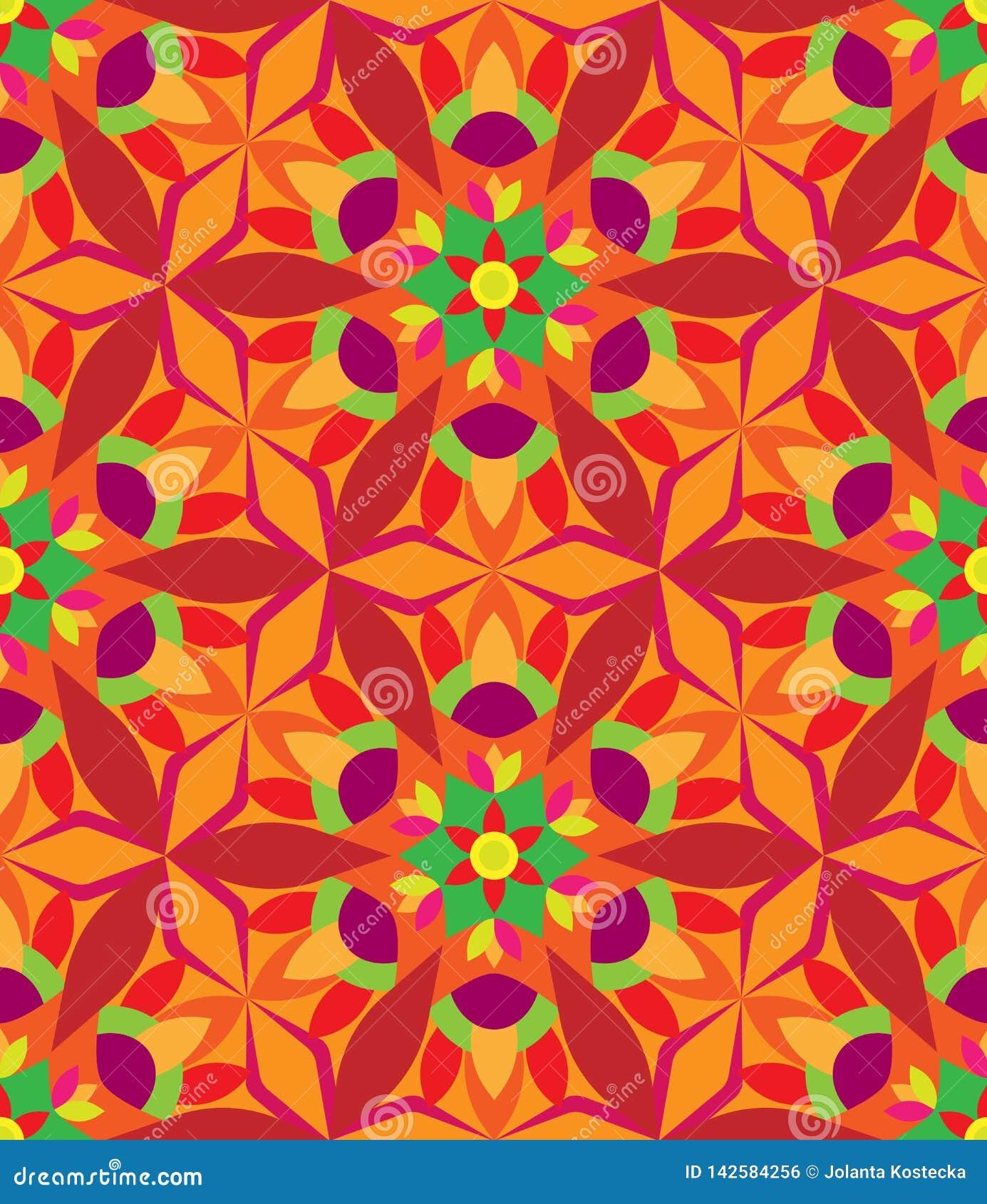 万花筒几何桔子和绿色无缝的样式
