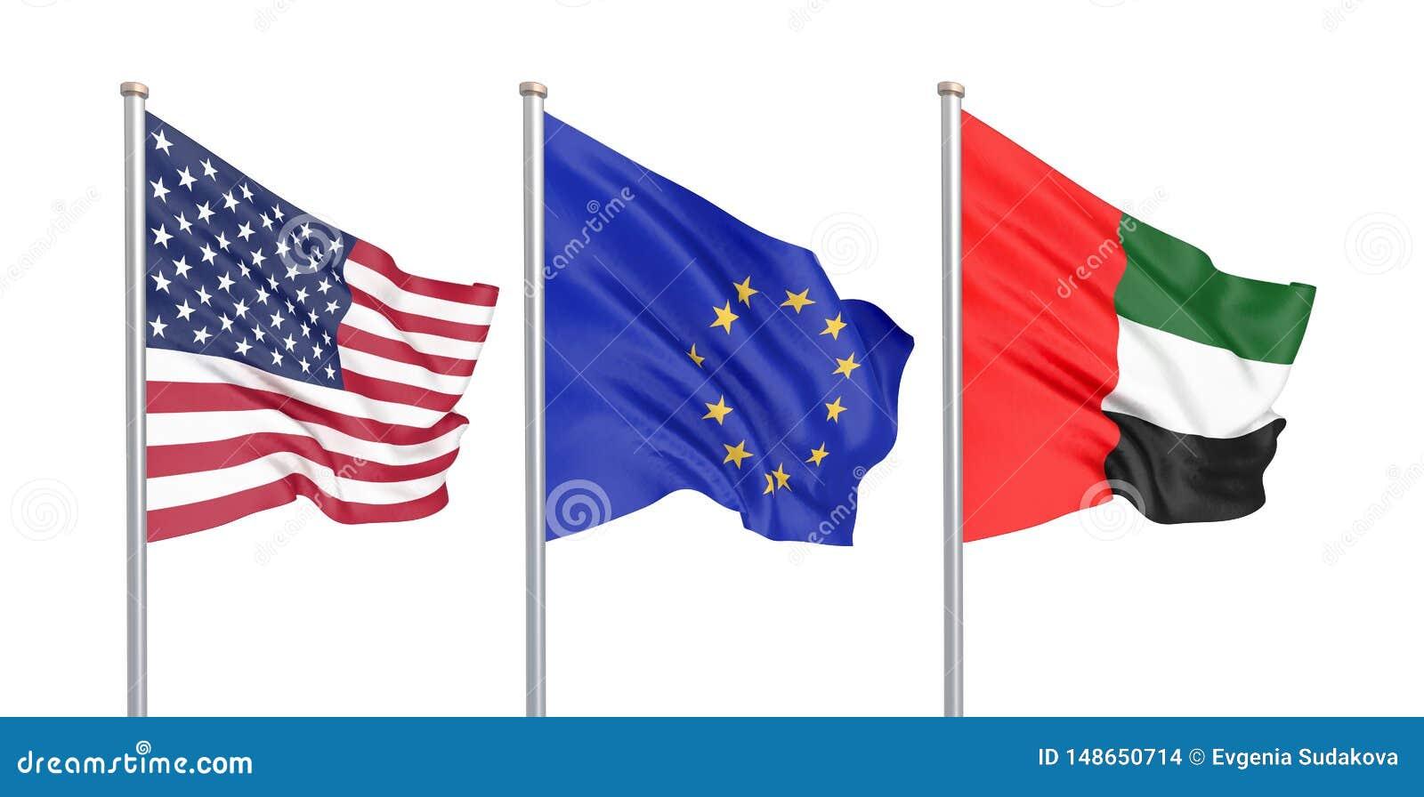 三上色了在风的柔滑的旗子:美国美国,被隔绝的E。-欧盟和阿拉伯联合酋长国