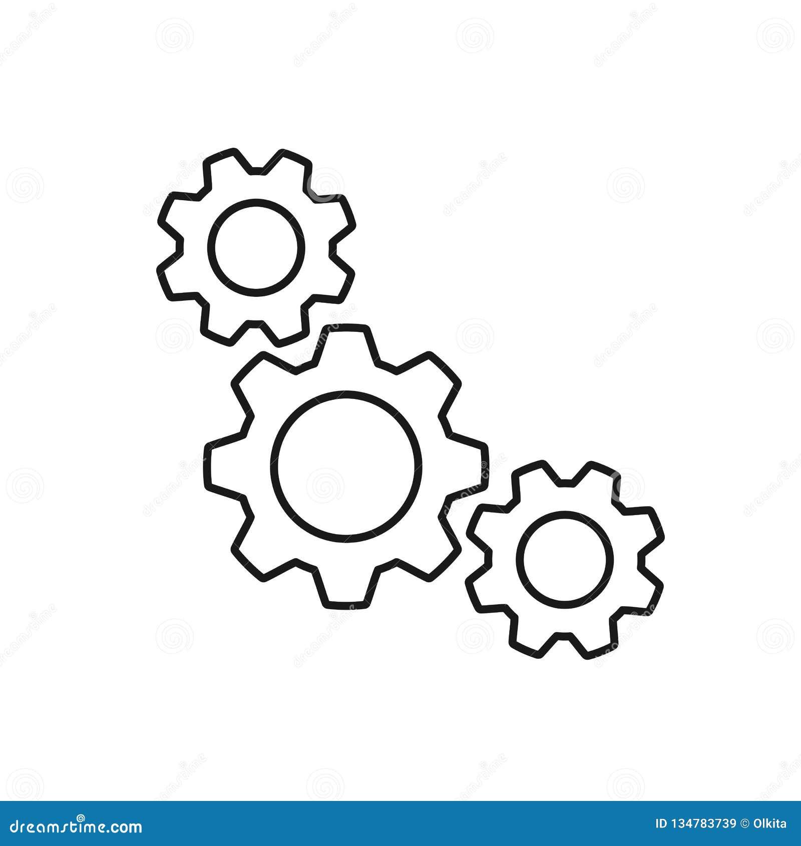 三个钝齿轮黑被隔绝的概述象在白色背景的 线链轮象  设置