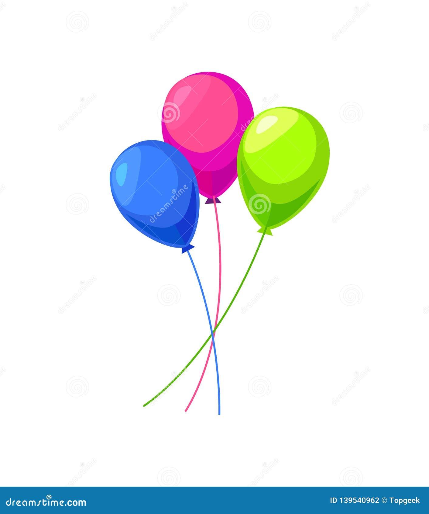 三个颜色可膨胀的气球传染媒介隔绝了